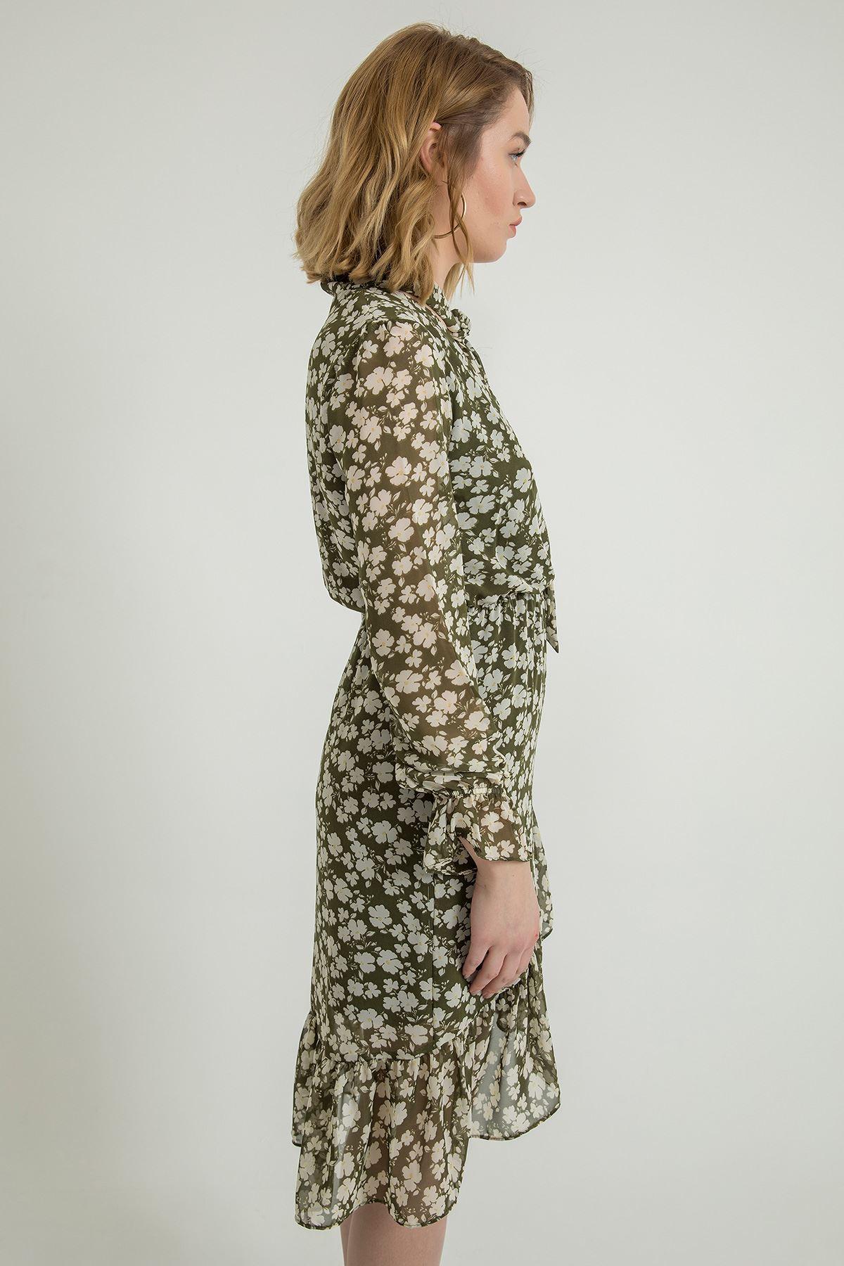 Çiçek Desen Şal Yaka Elbise-Haki