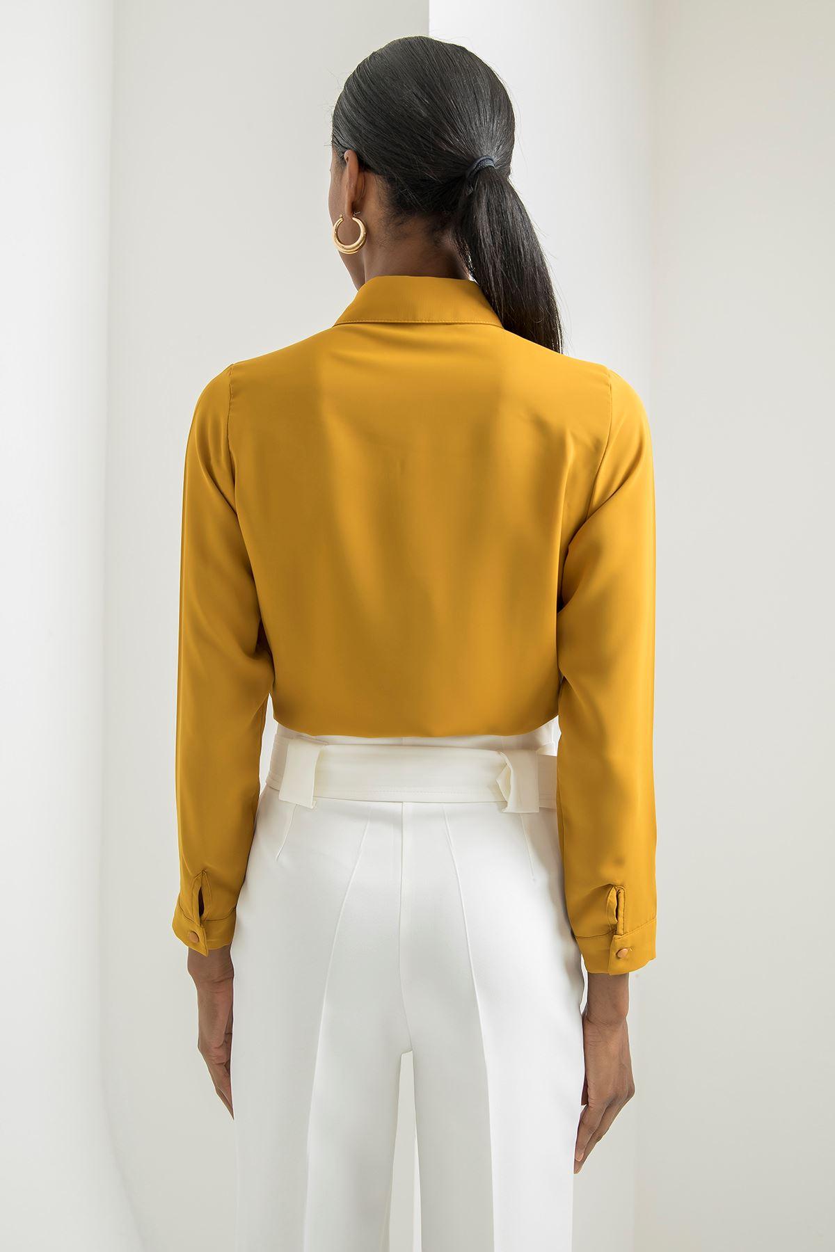 Gömlek Yaka Anvelop Bluz-Hardal