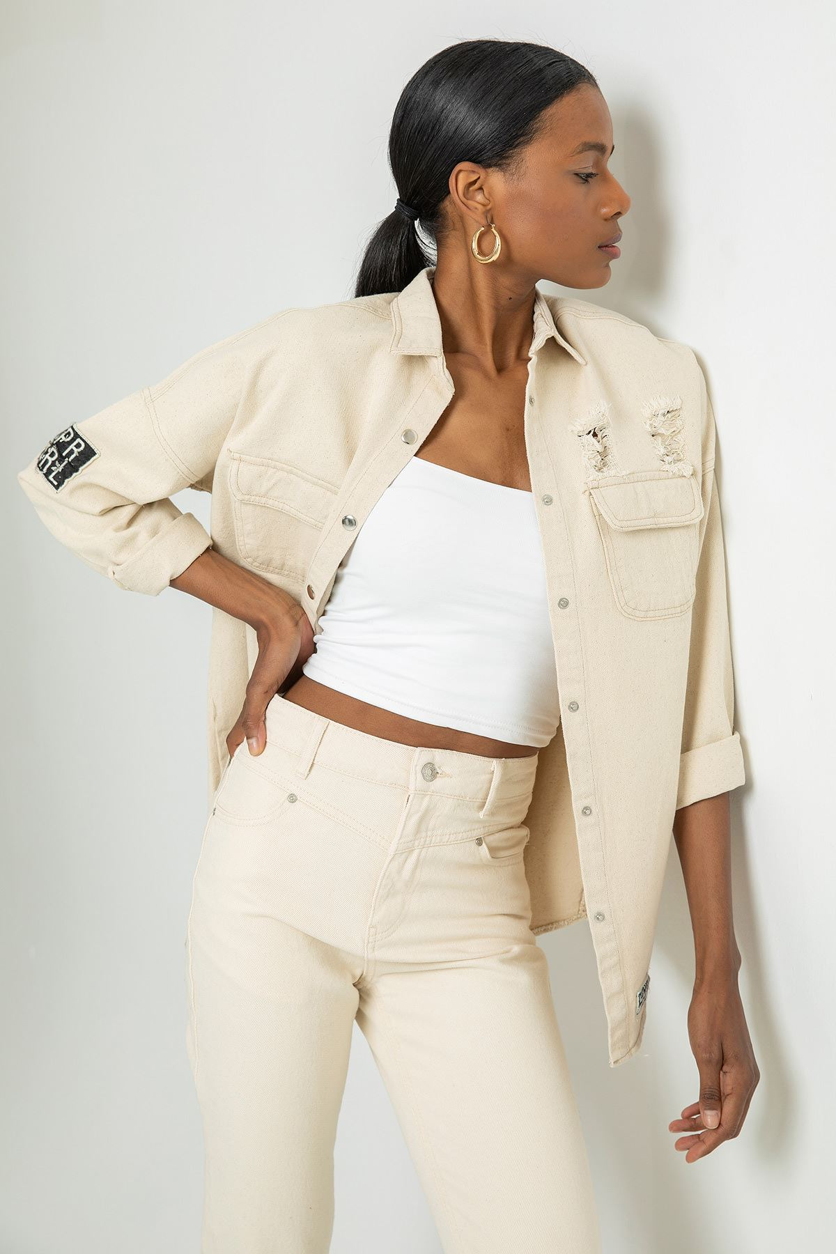 Cepli Yırtık Detay Kot Ceket-Taş