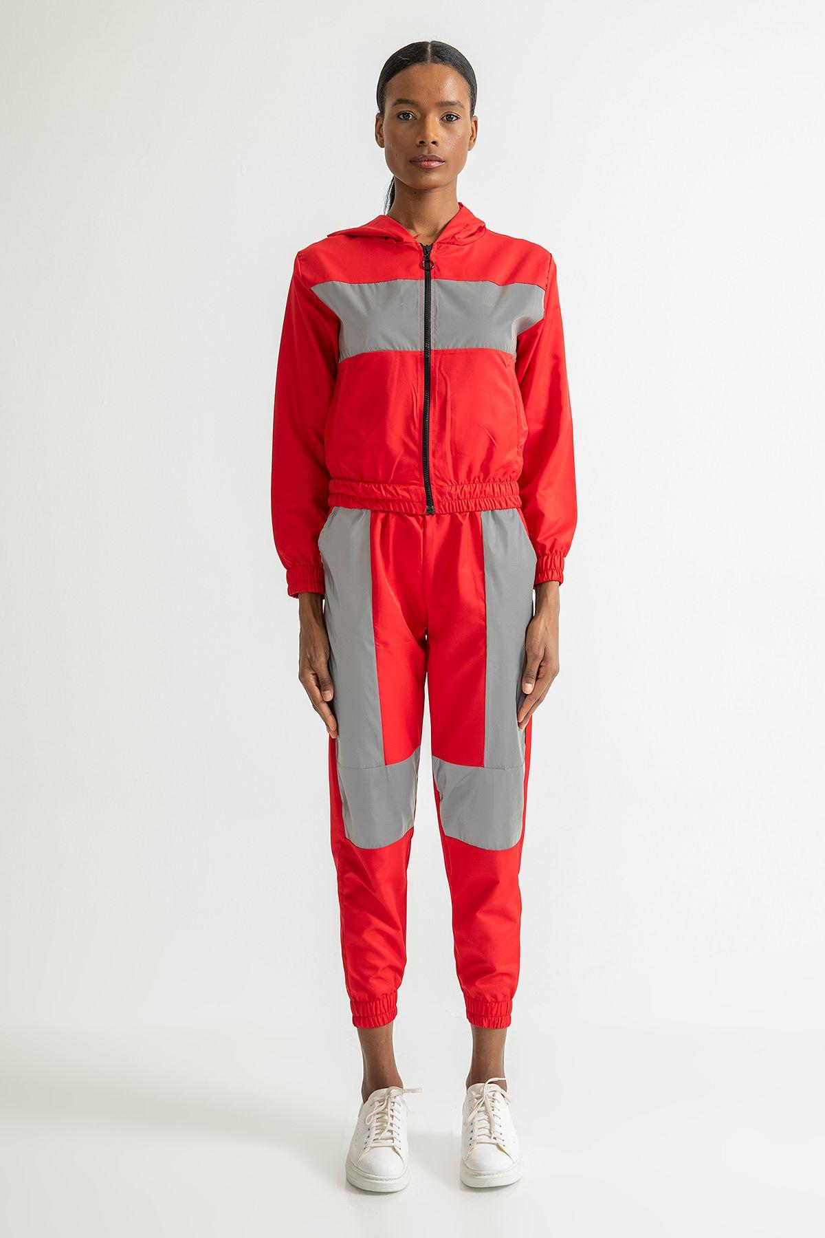 Kapşonlu Reflektör Eşofman Takım-Kırmızı