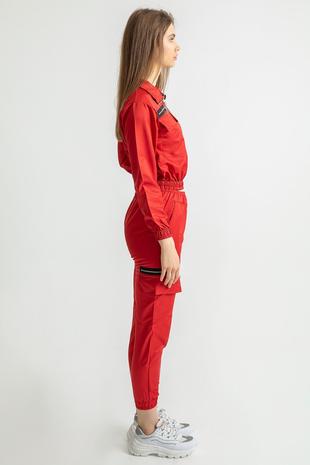 Fermuar Detay Eşofman Takım-Kırmızı