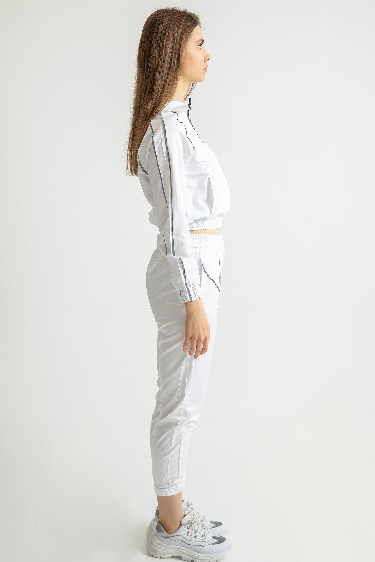 Şeritli Reflektör Eşofman Takım-Beyaz