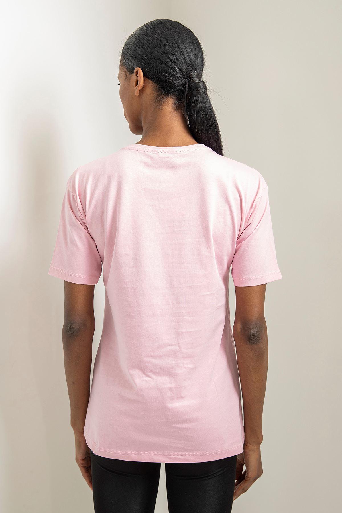 Simpson Baskılı Basic T-shirt-Pudra