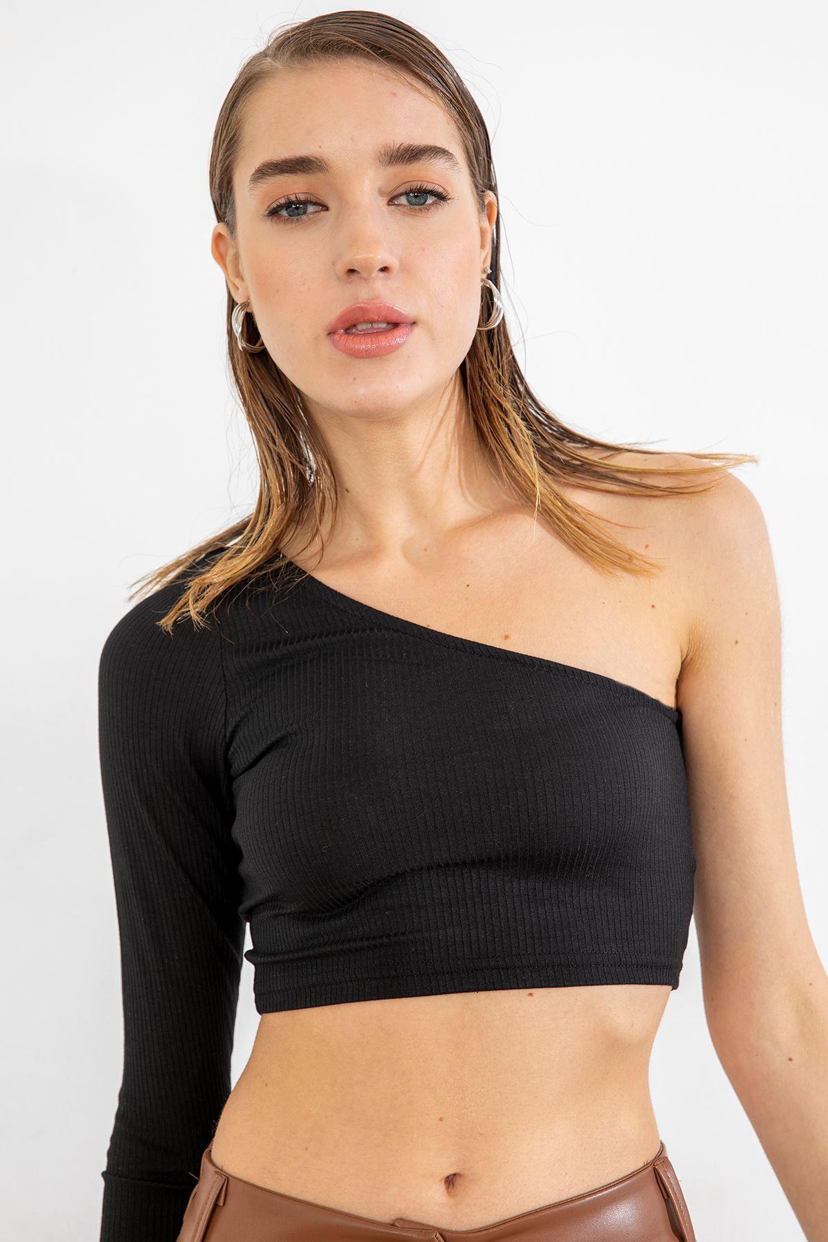 Tek Omuz Kaşkorse Bluz-Siyah