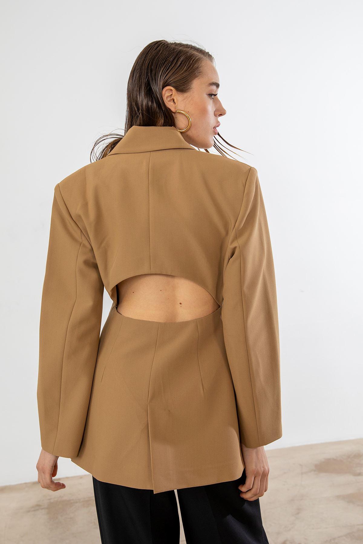Sırt Detay Blazer Ceket-Camel