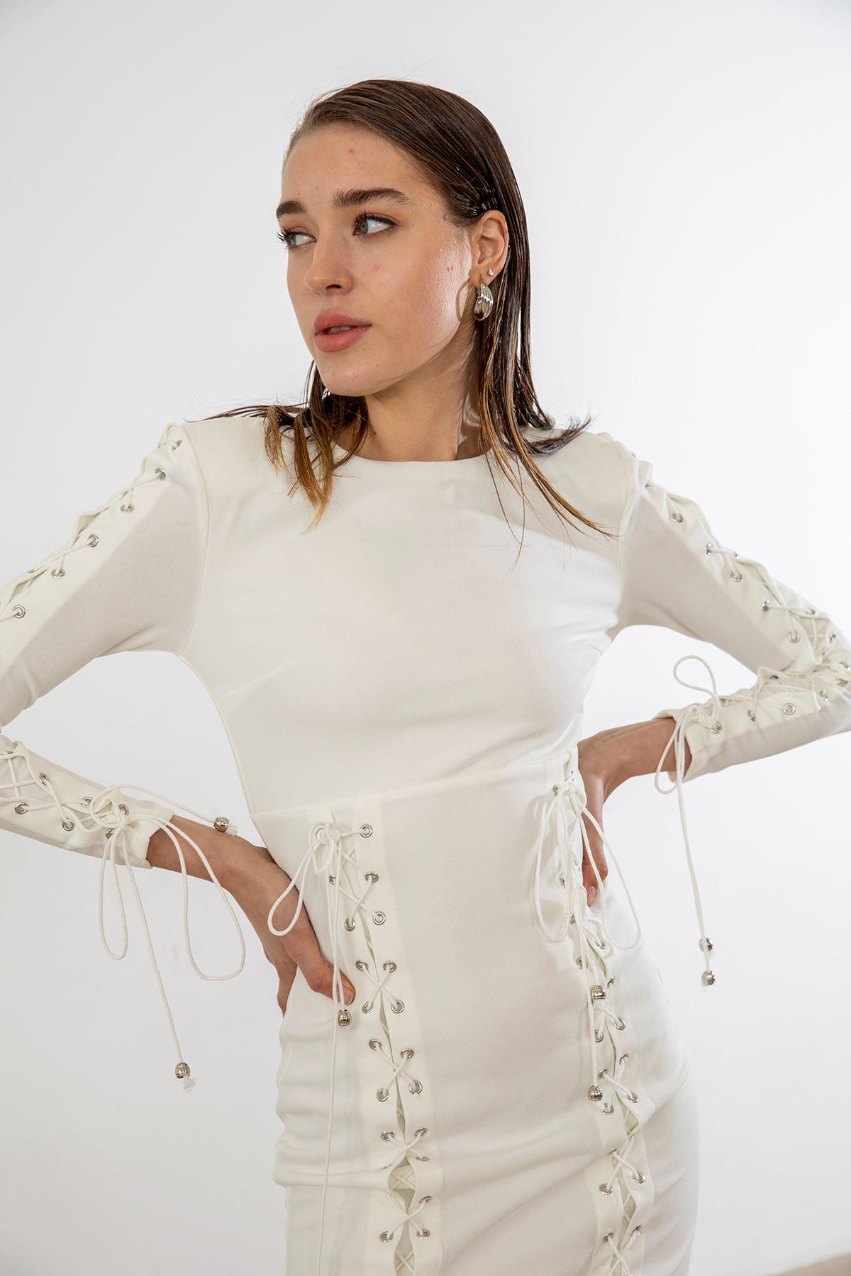İp Detay Vatkalı Elbise-Beyaz