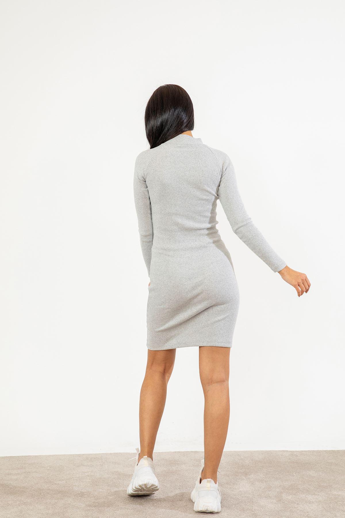 Dik Yaka Elbise-Gri