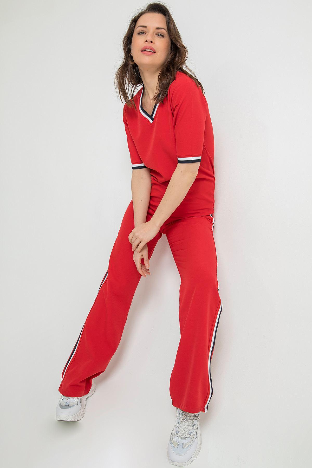 Şerit Detay Pantolon Takım-Kırmızı