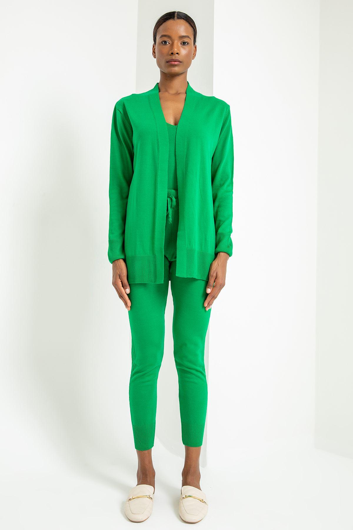 Üçlü Triko Tayt Takım-Yeşil