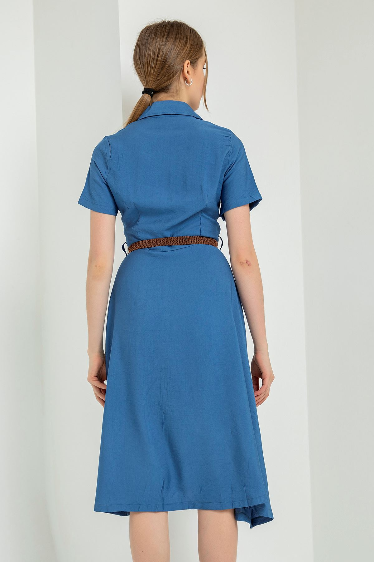 Kısa Kollu Kemerli Elbise-İndigo