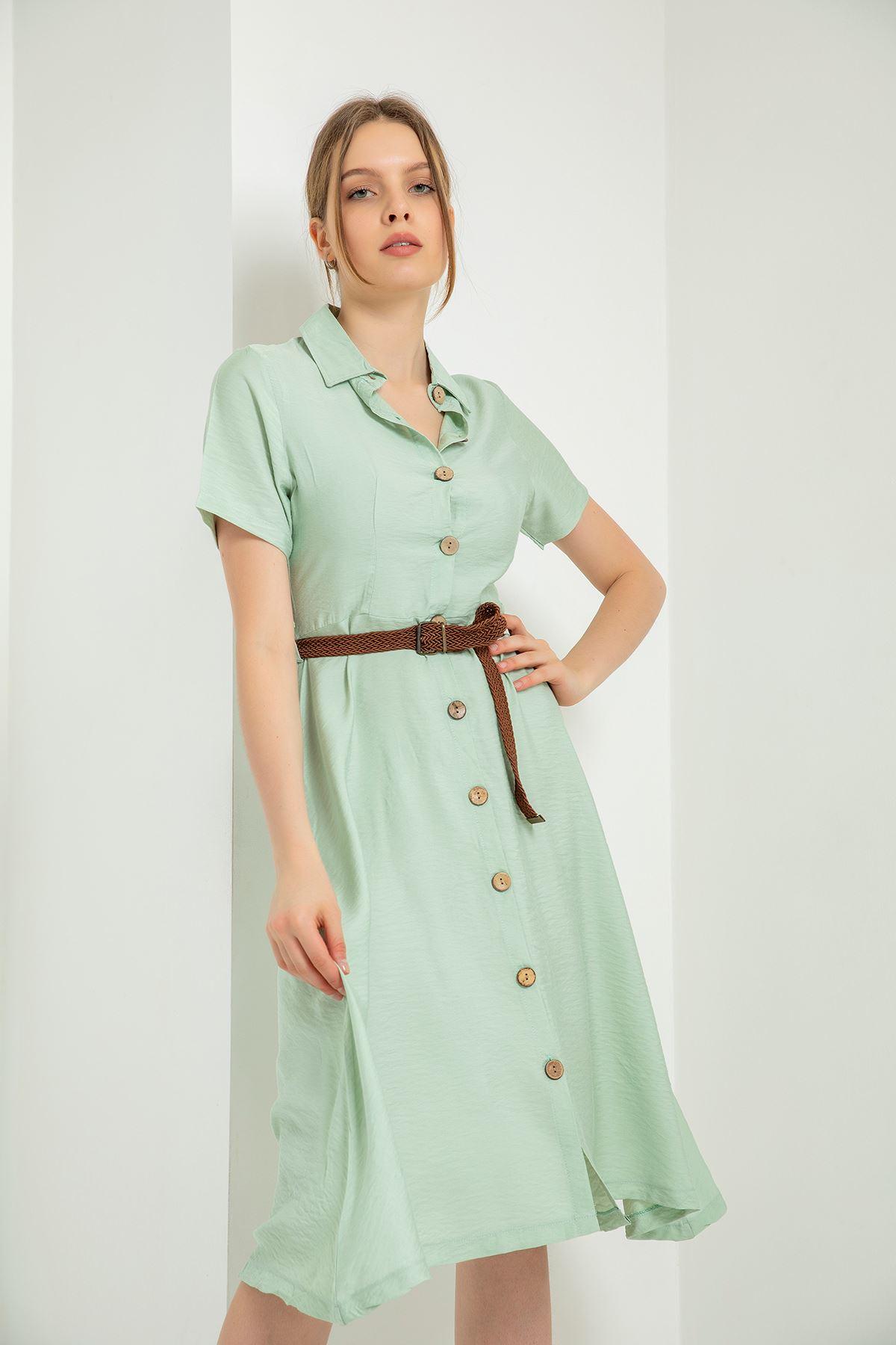 Kısa Kollu Kemerli Elbise-Mint