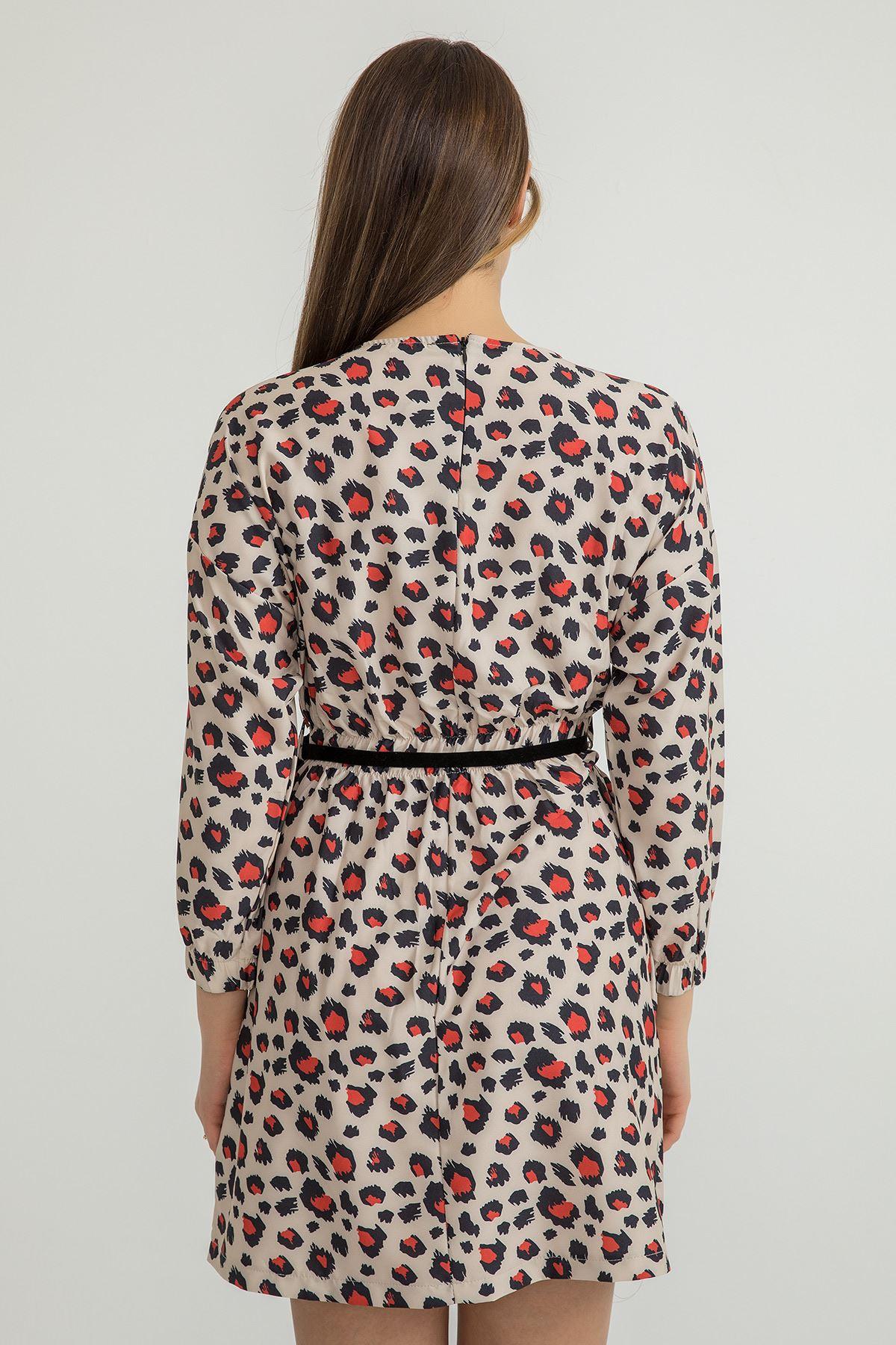 Leopar Desen Kemerli Elbise-Taş