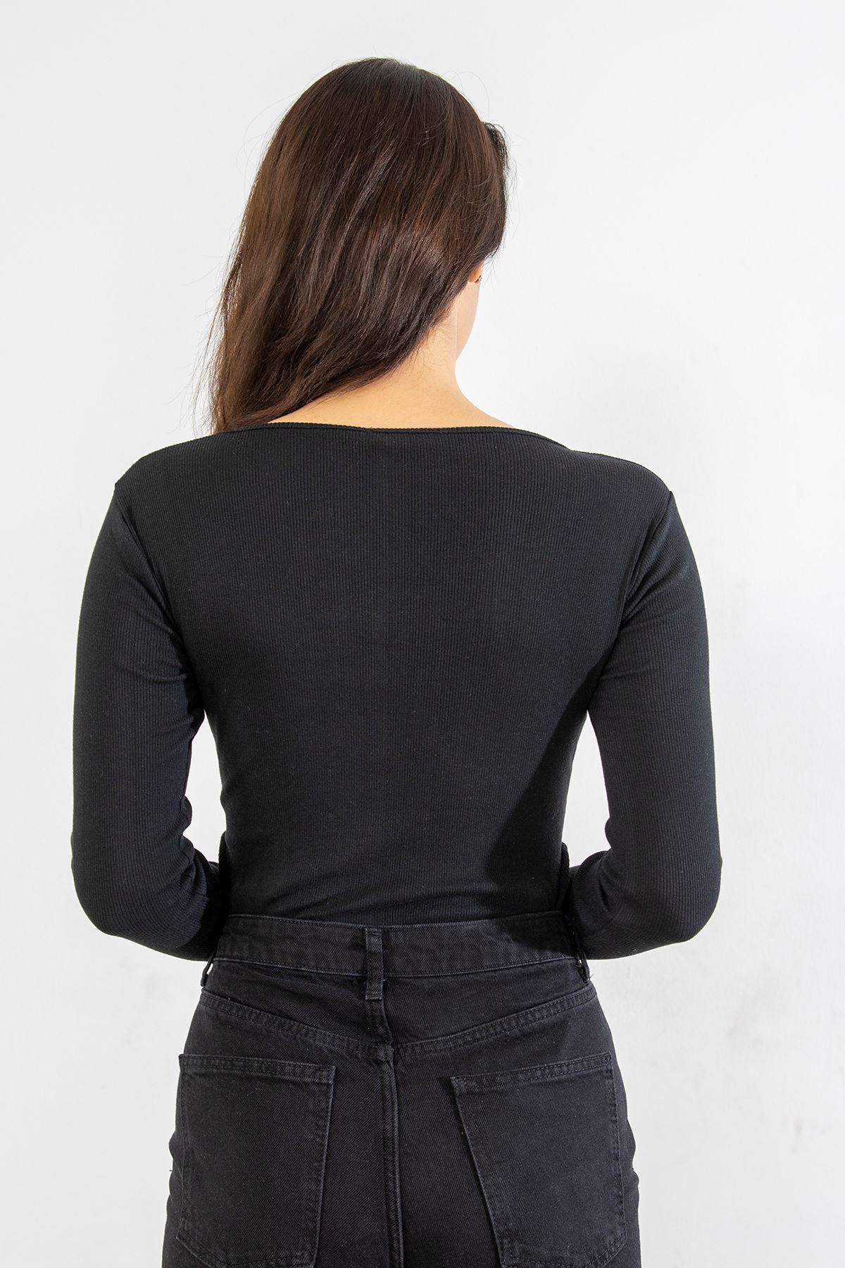 Kare Yaka Body Bluz-Siyah