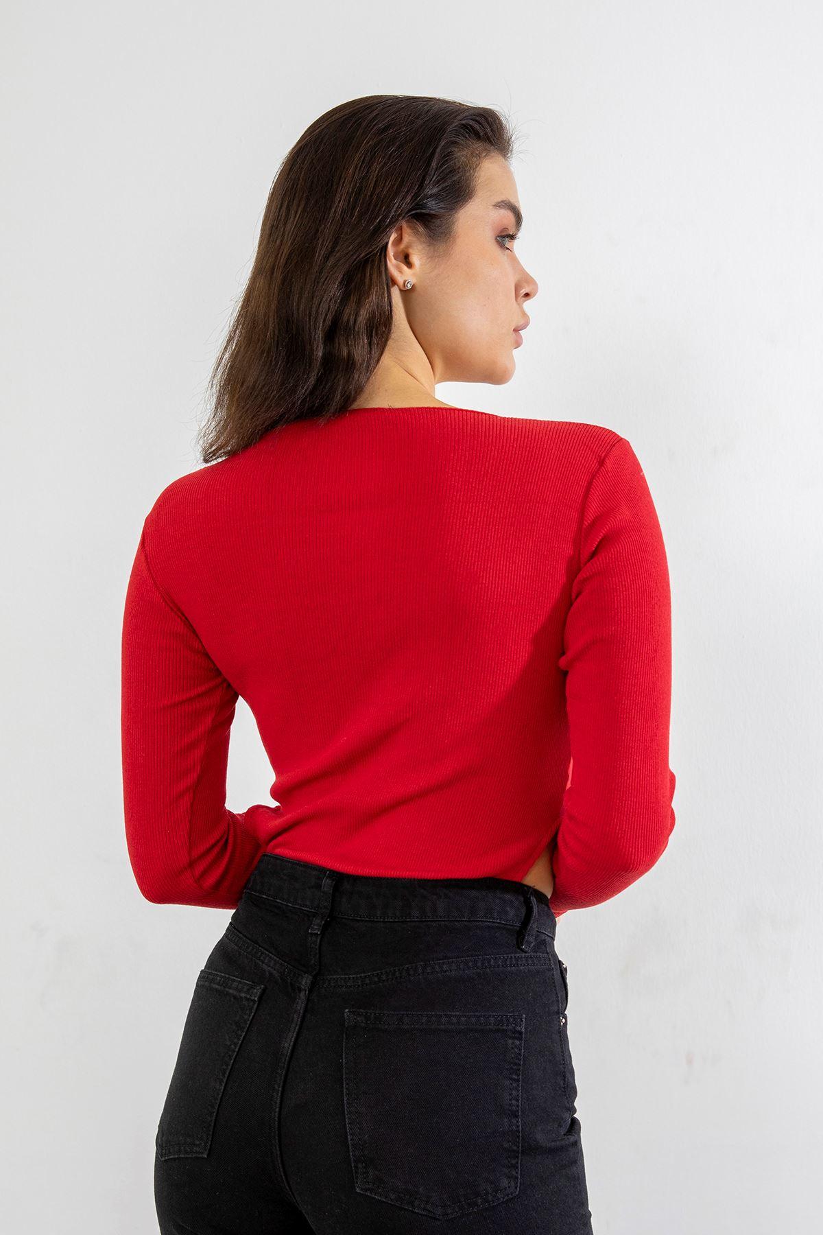 Kare Yaka Body Bluz-Kırmızı