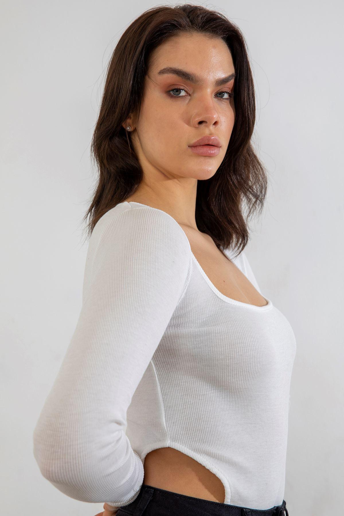 Kare Yaka Body Bluz-Ekru
