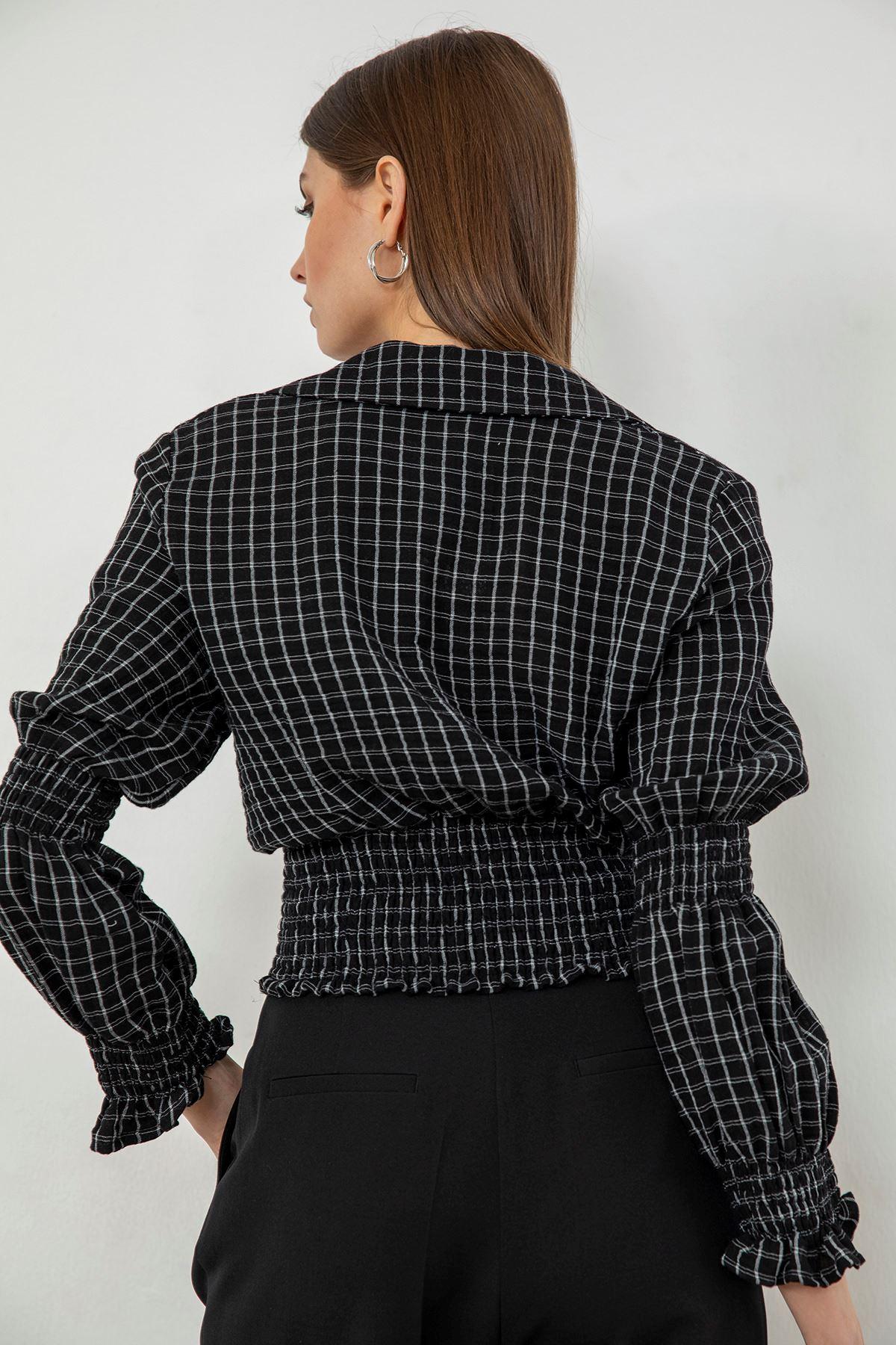 Kare Desen Bluz-Siyah