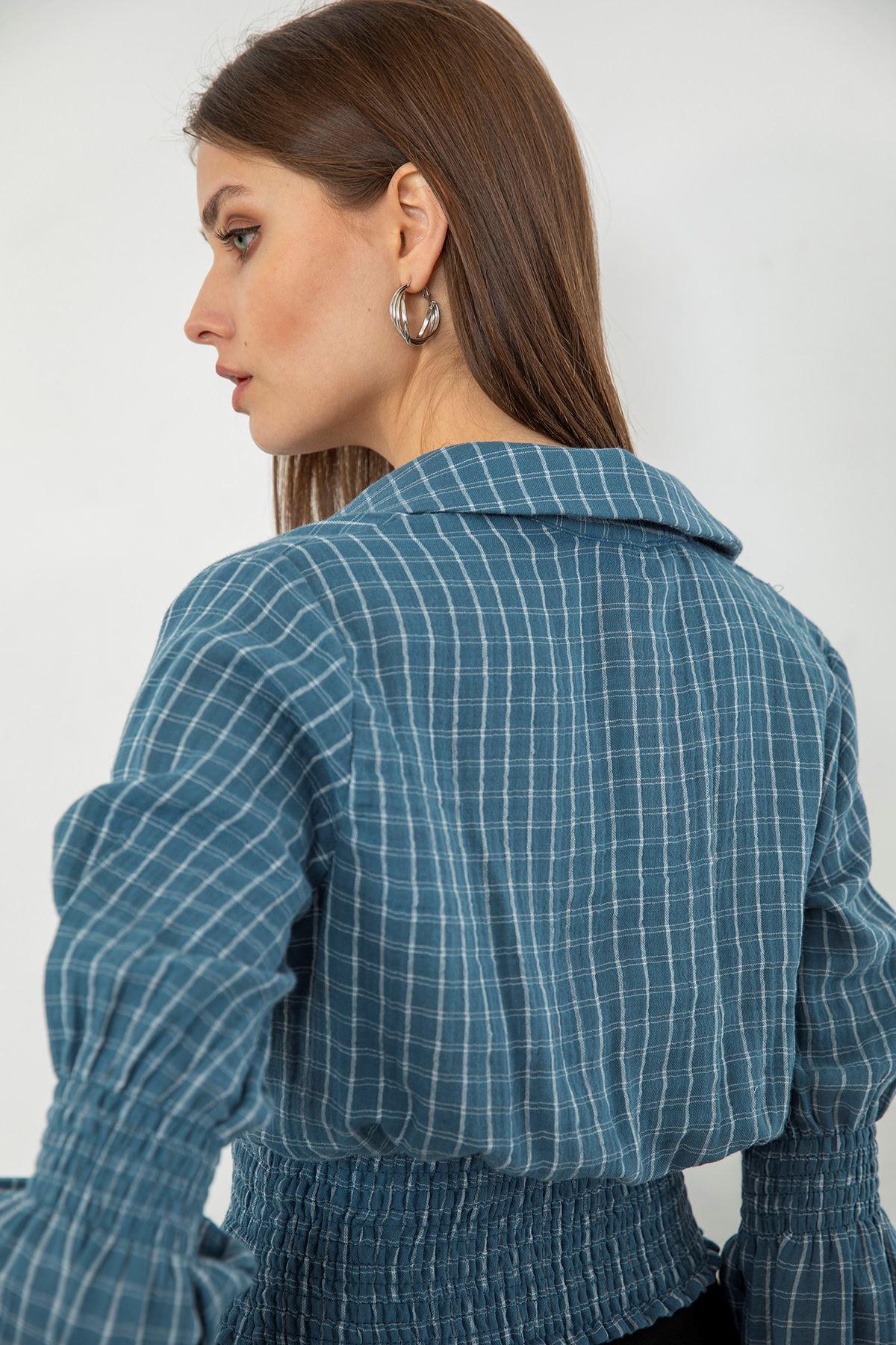 Kare Desen Bluz-İndigo