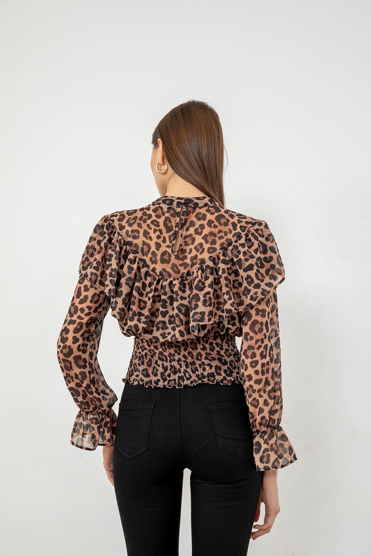 Gipeli Şifon Bluz-Leopar