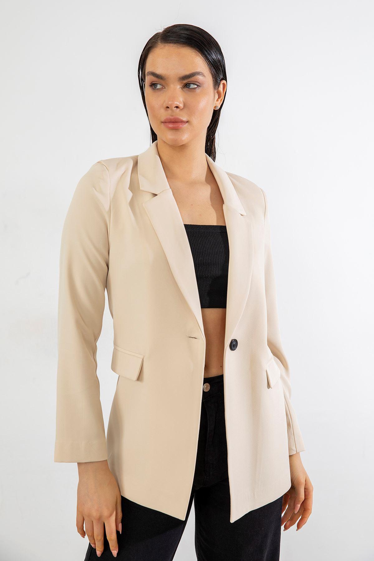 Tek Düğme Blazer Ceket-Bej