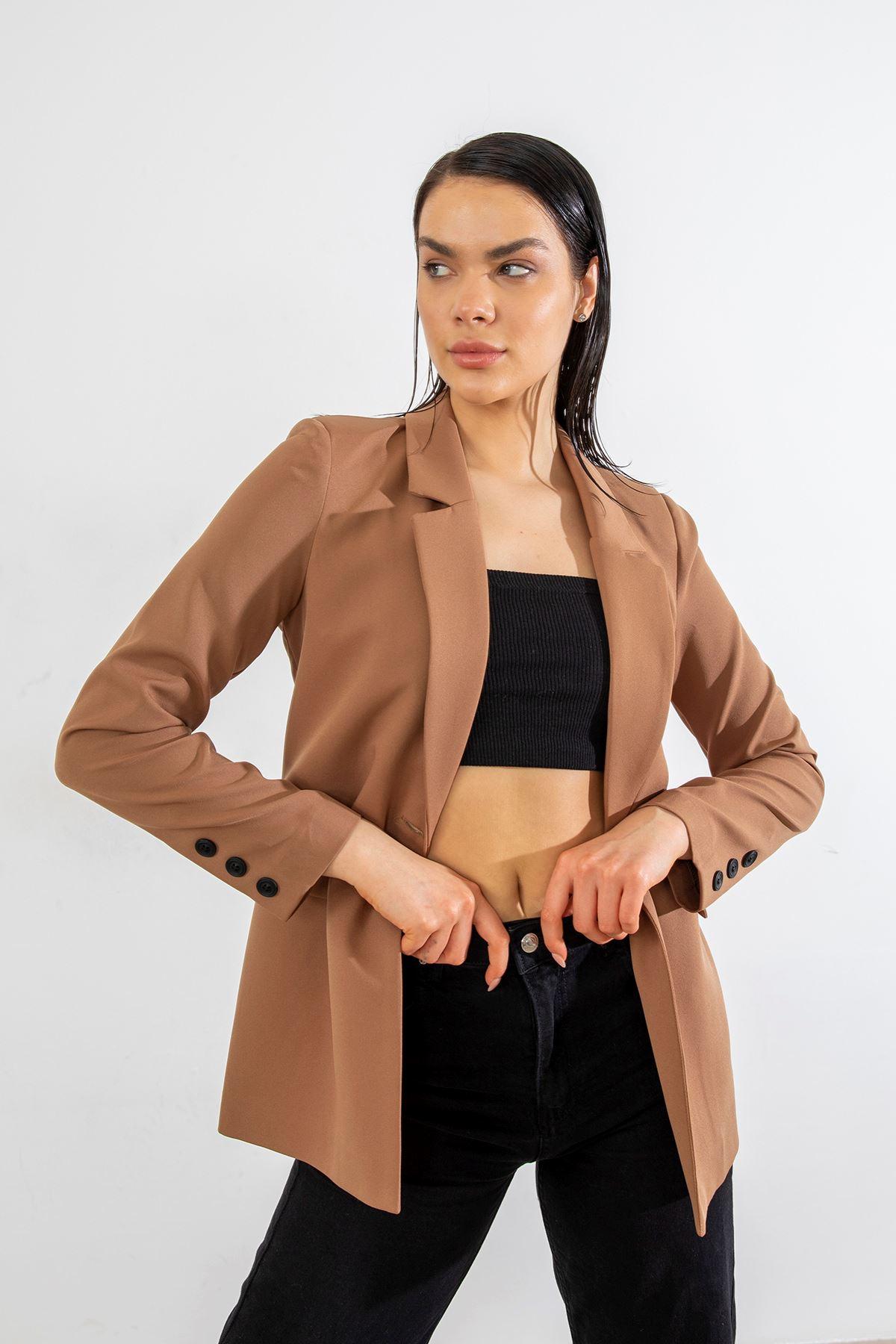 Tek Düğme Blazer Ceket-Camel