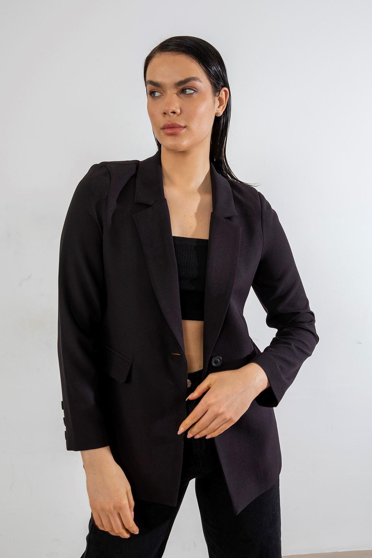 Tek Düğme Blazer Ceket-Siyah