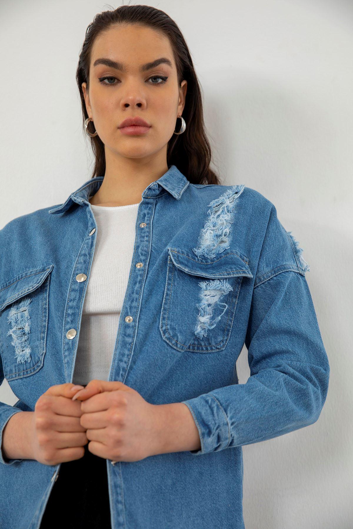 Arkası Baskılı Kot Ceket-Mavi