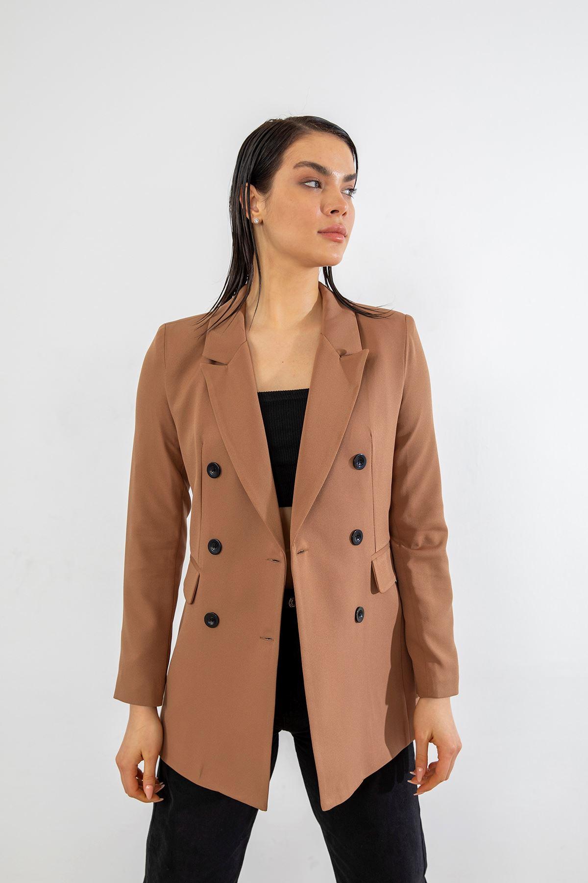 Çif Düğmeli Blazer Ceket-Camel