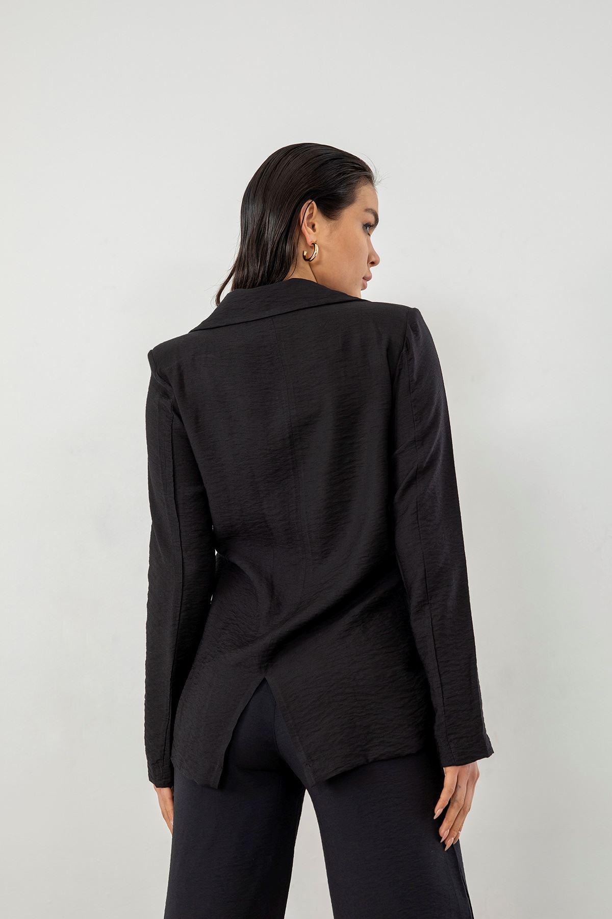 Yanları Büzgü Detay Ceket-Siyah