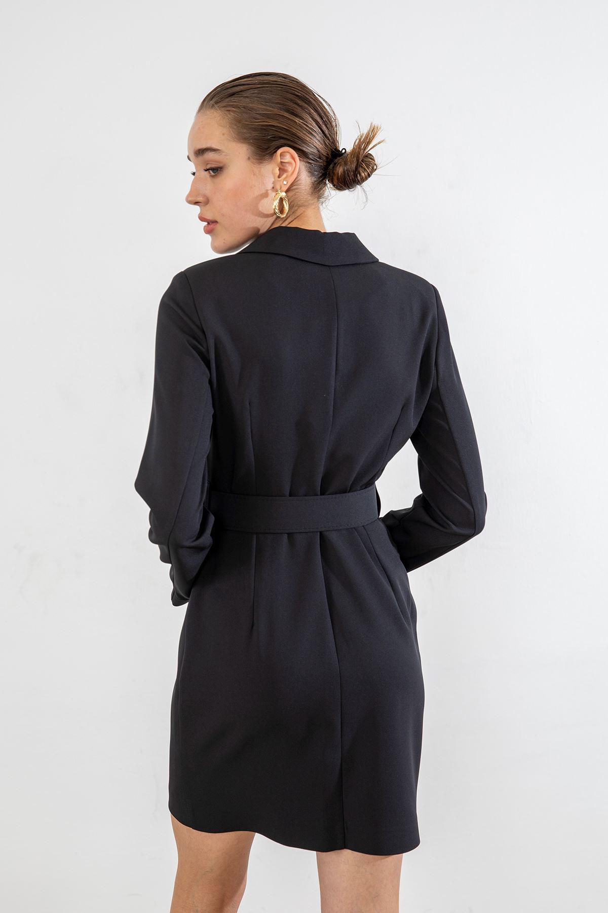 Kemerli Ceket Elbise-Siyah