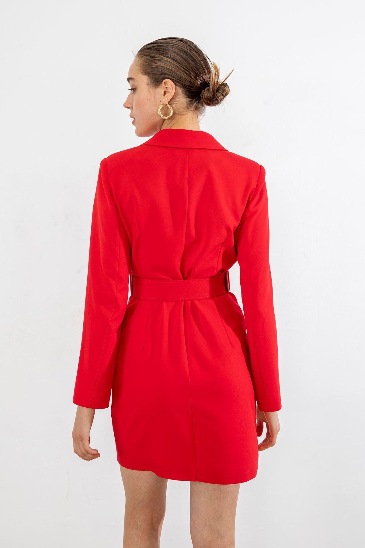 Kemerli Ceket Elbise-Kırmızı