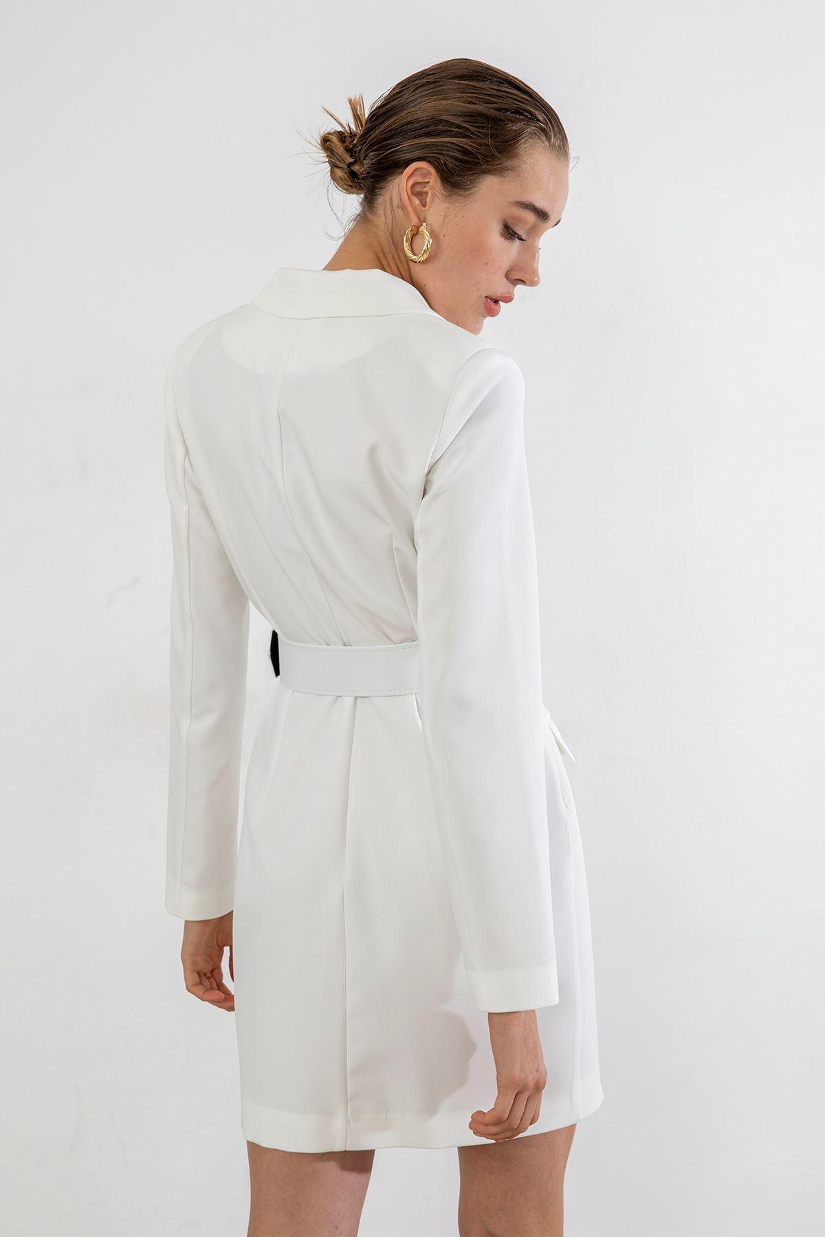 Kemerli Ceket Elbise-Beyaz