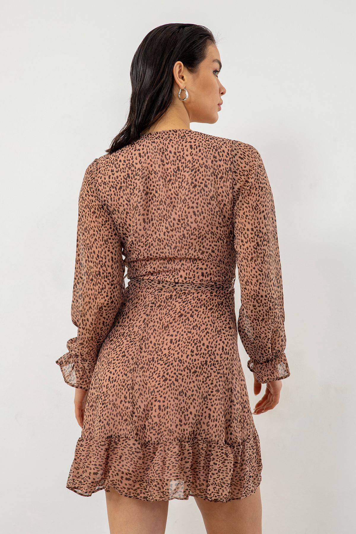 Volan Detay Şifon Elbise-Leopar