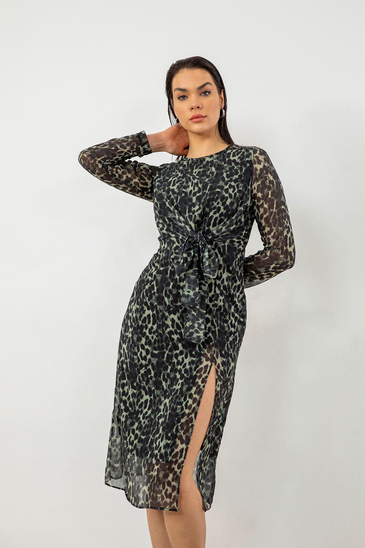 Leopar Desen Şifon Elbise-Haki