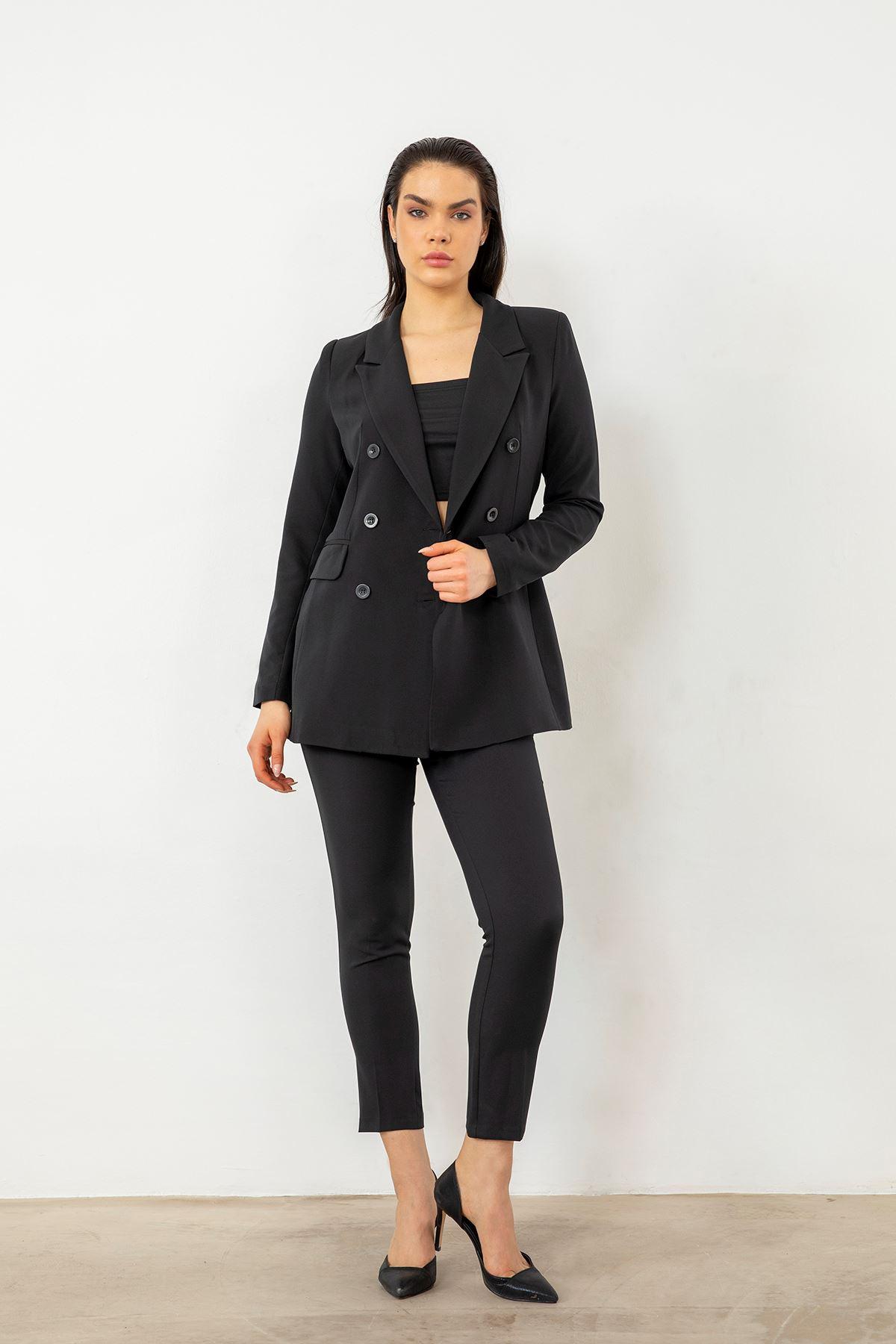 Çift Düğme Ceket Takım-Siyah