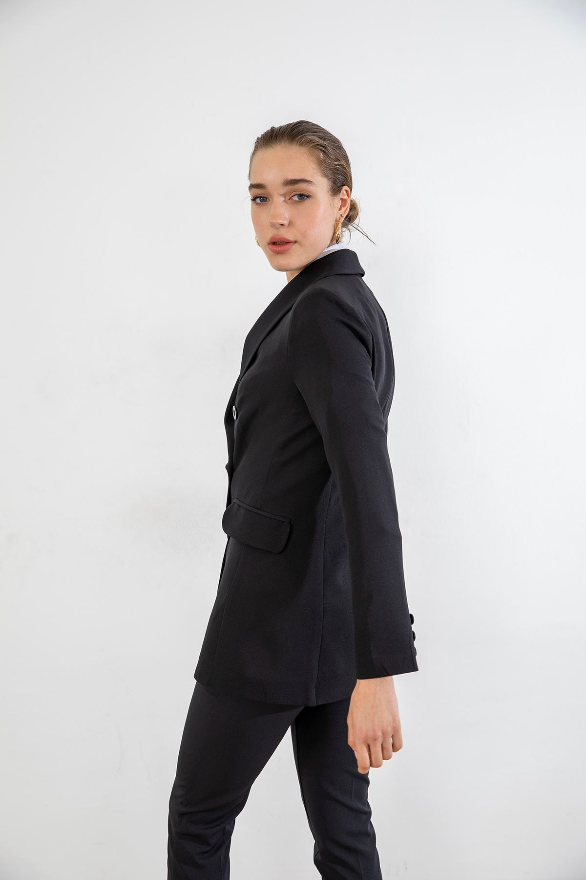 Şal Yaka Ceket Takım-Siyah