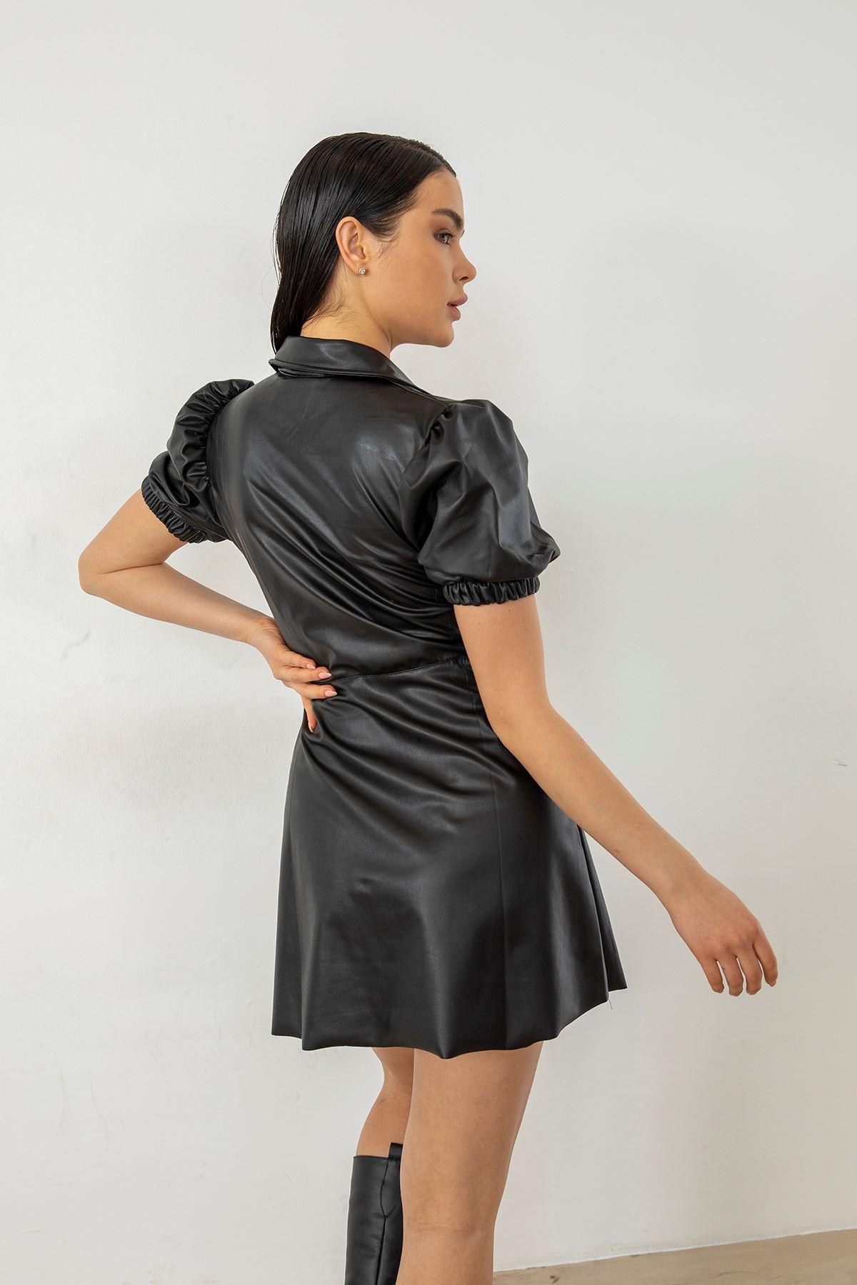 Balon Kol Deri Elbise-Siyah