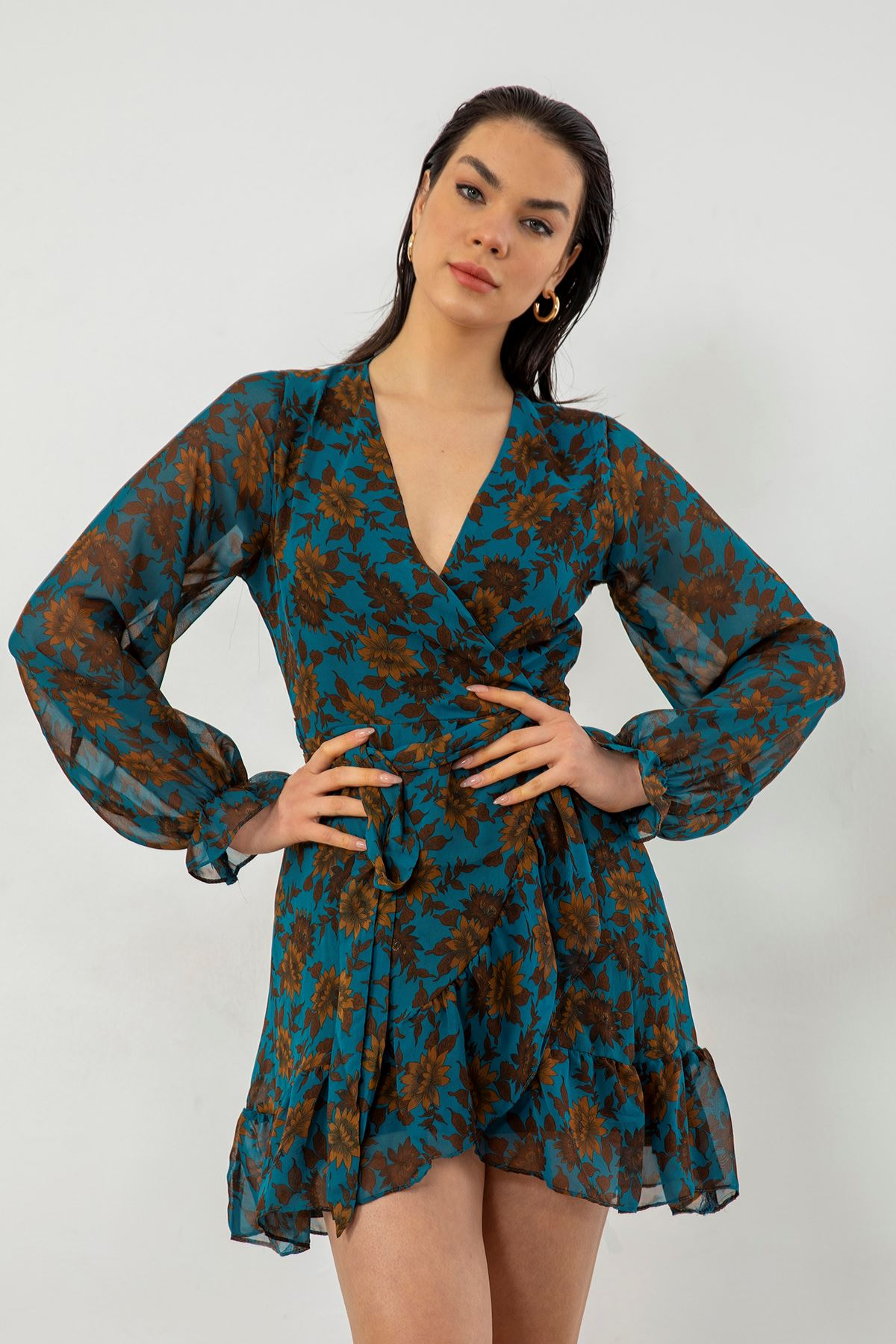 Volan Detay Şifon Elbise-Turkuaz