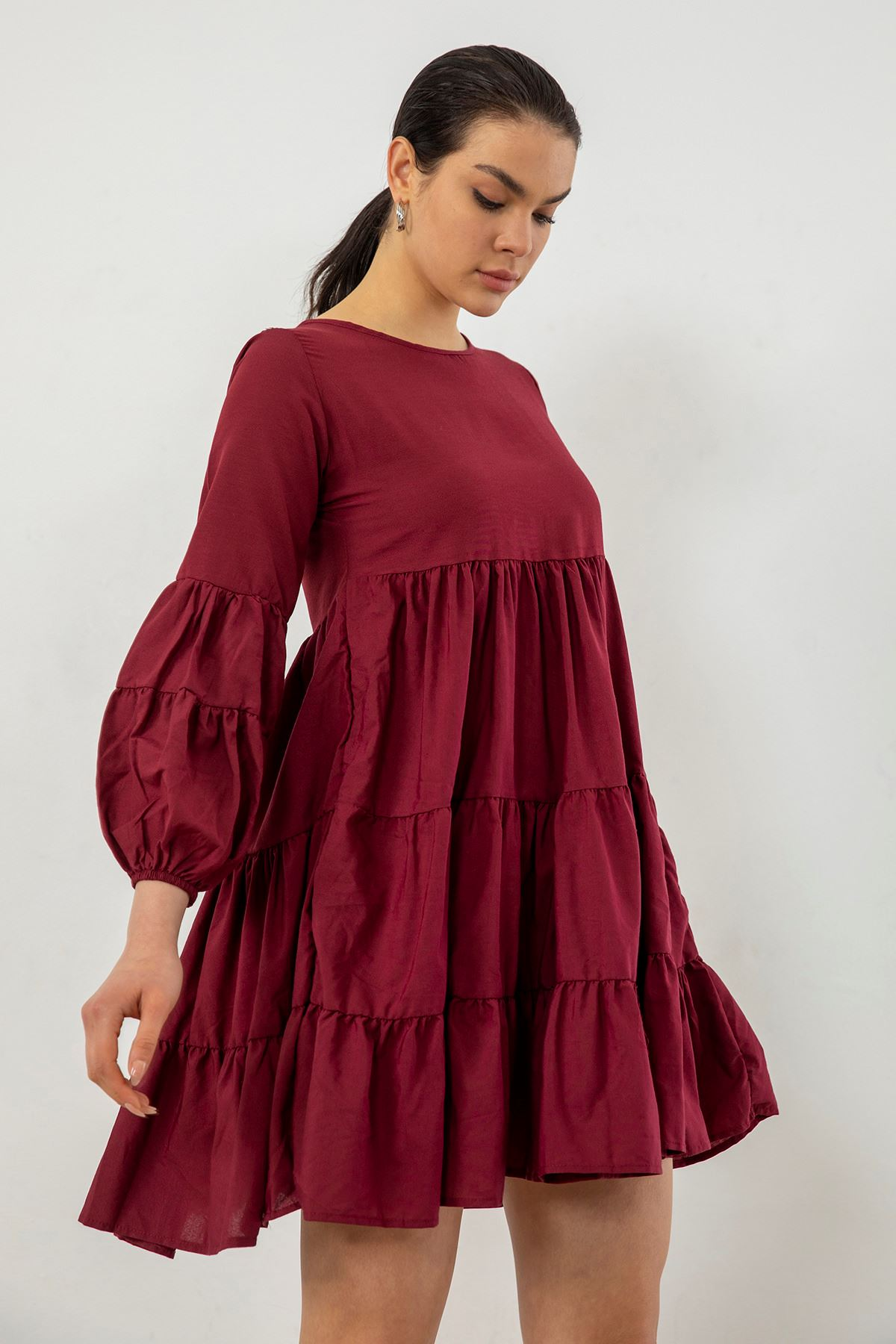 Fırfırlı Elbise-Bordo