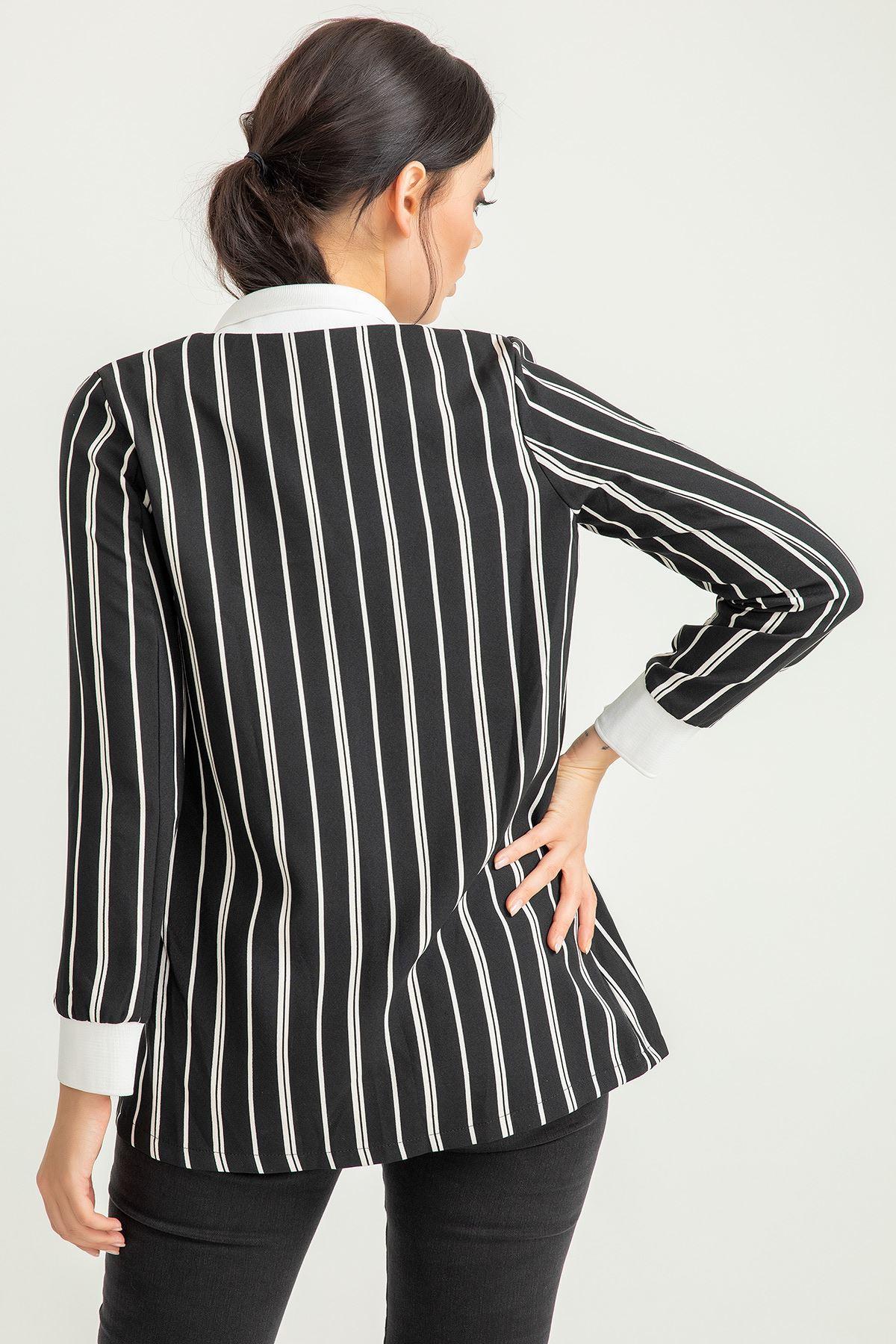 Çizgili Atlas Kumaş Ceket-Siyah
