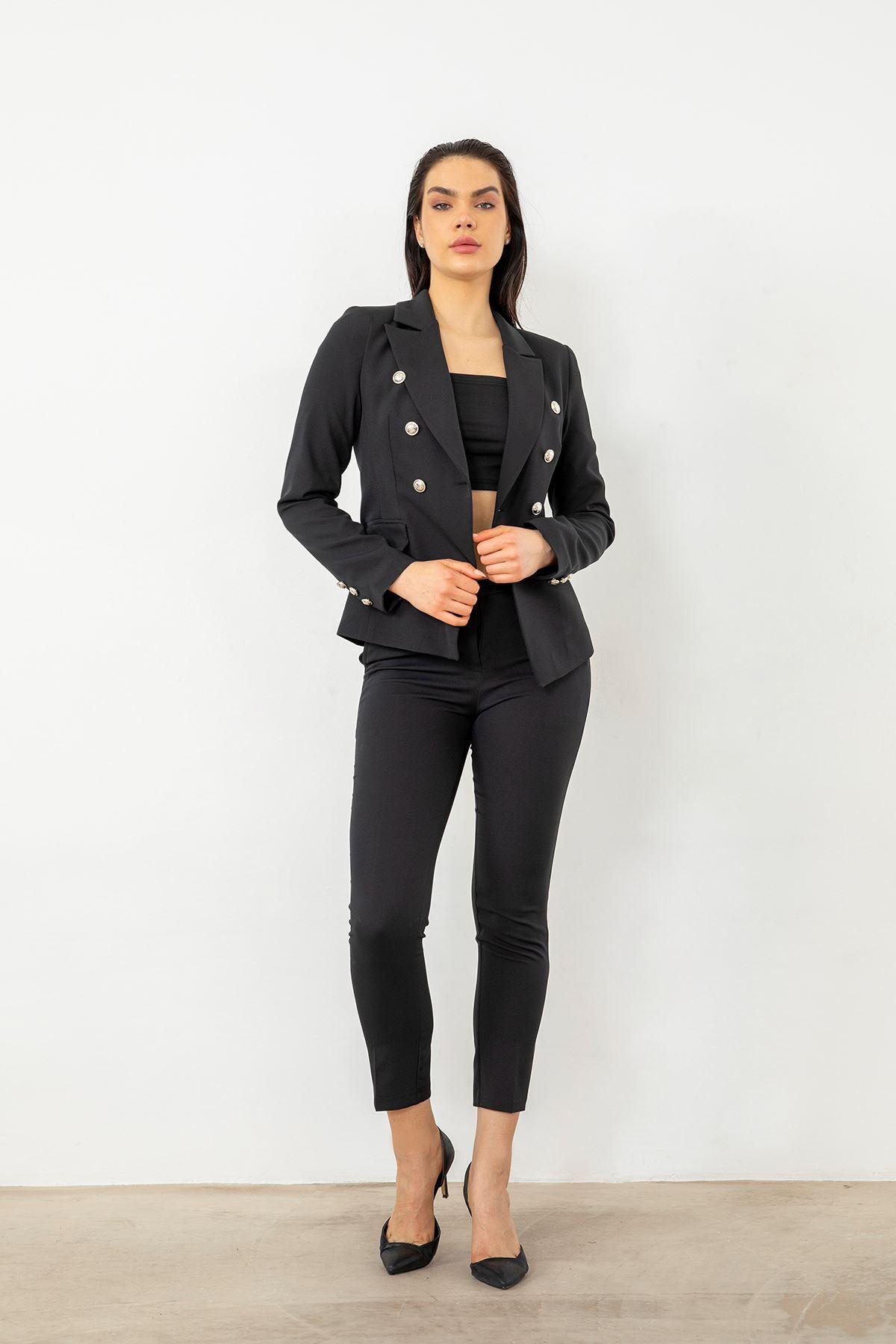 Blazer Ceket Takım-Siyah