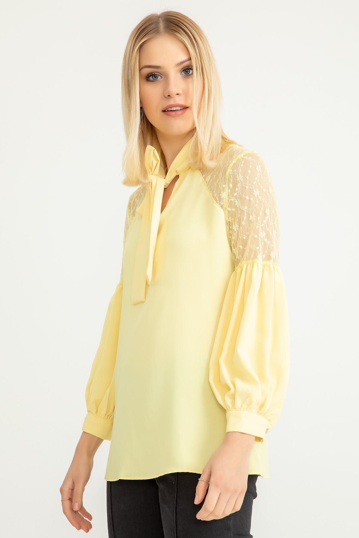 Omuzu Dantel Detay Bluz-Sarı