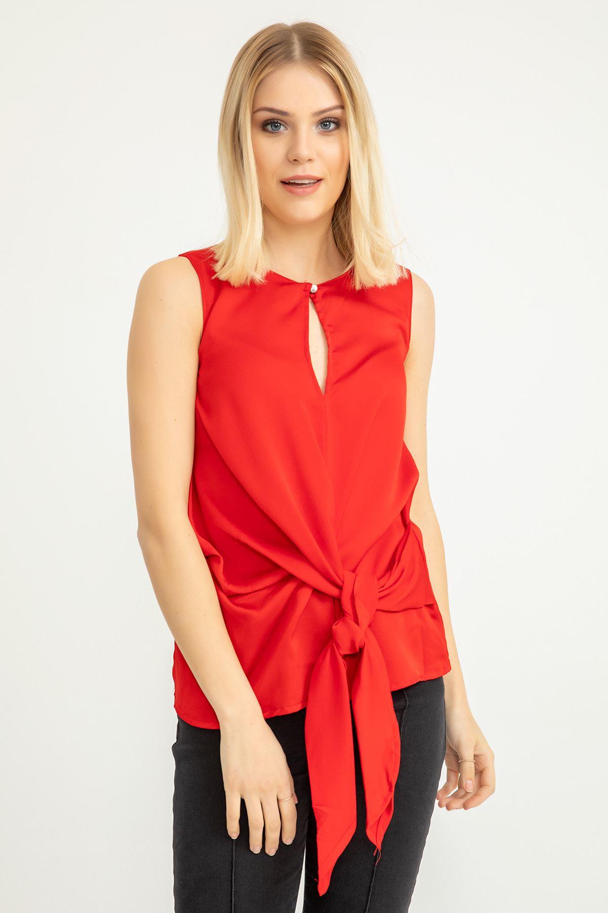 Önü Bağlamalı  Bluz-Kırmızı