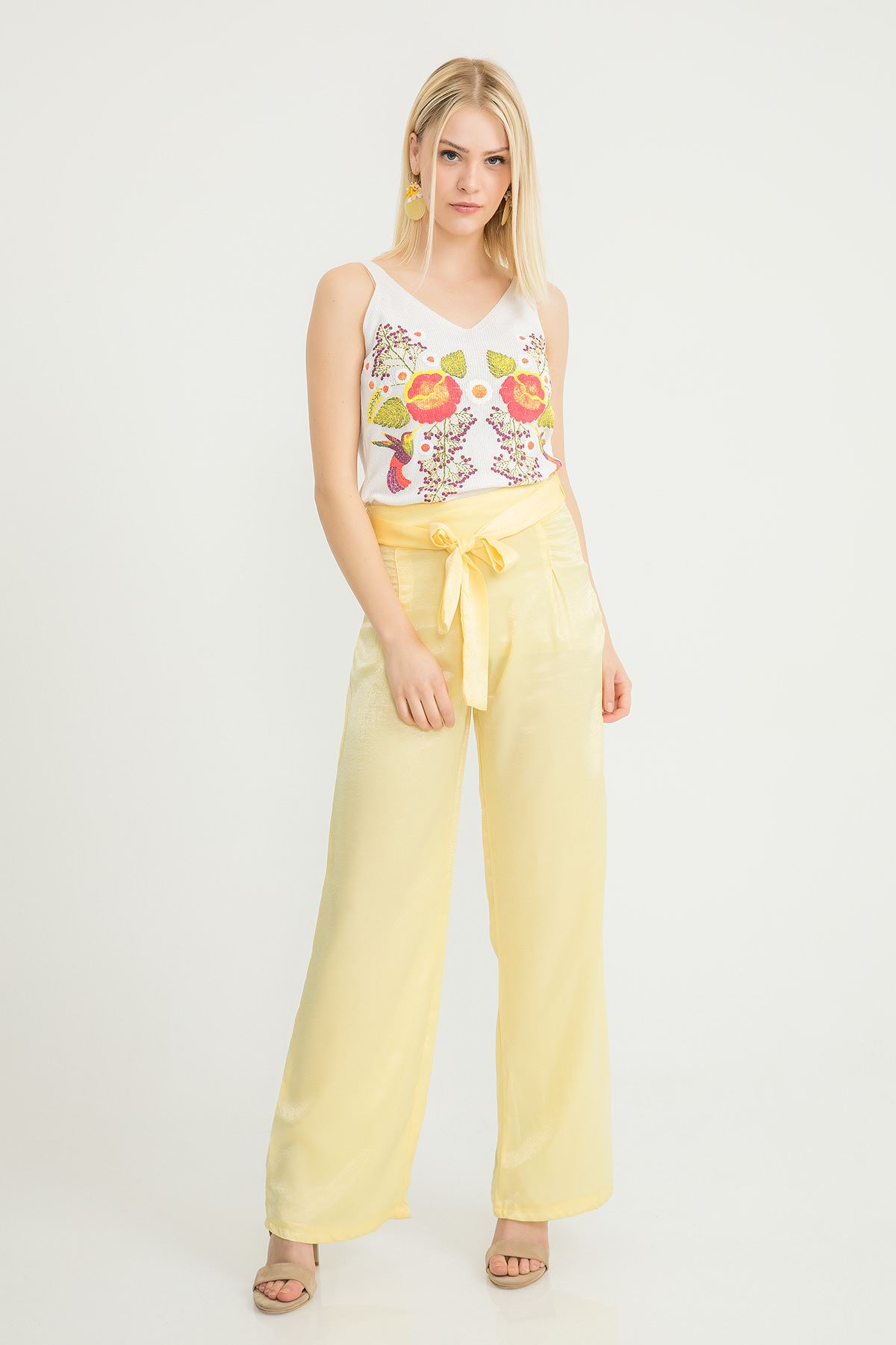 Salaş Kemerli Pantolon-Sarı