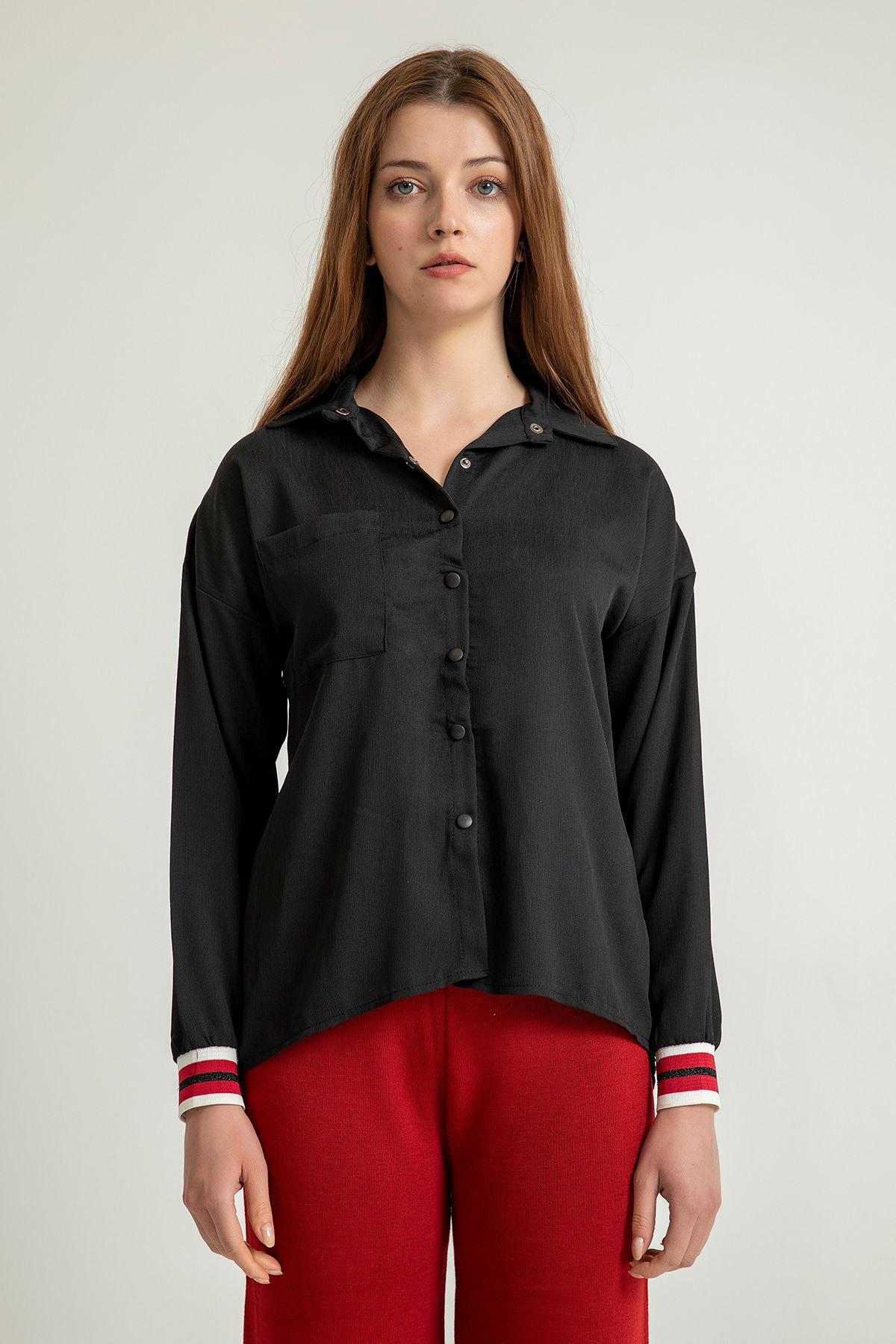 Çizgi Detay Salaş Gömlek-Siyah