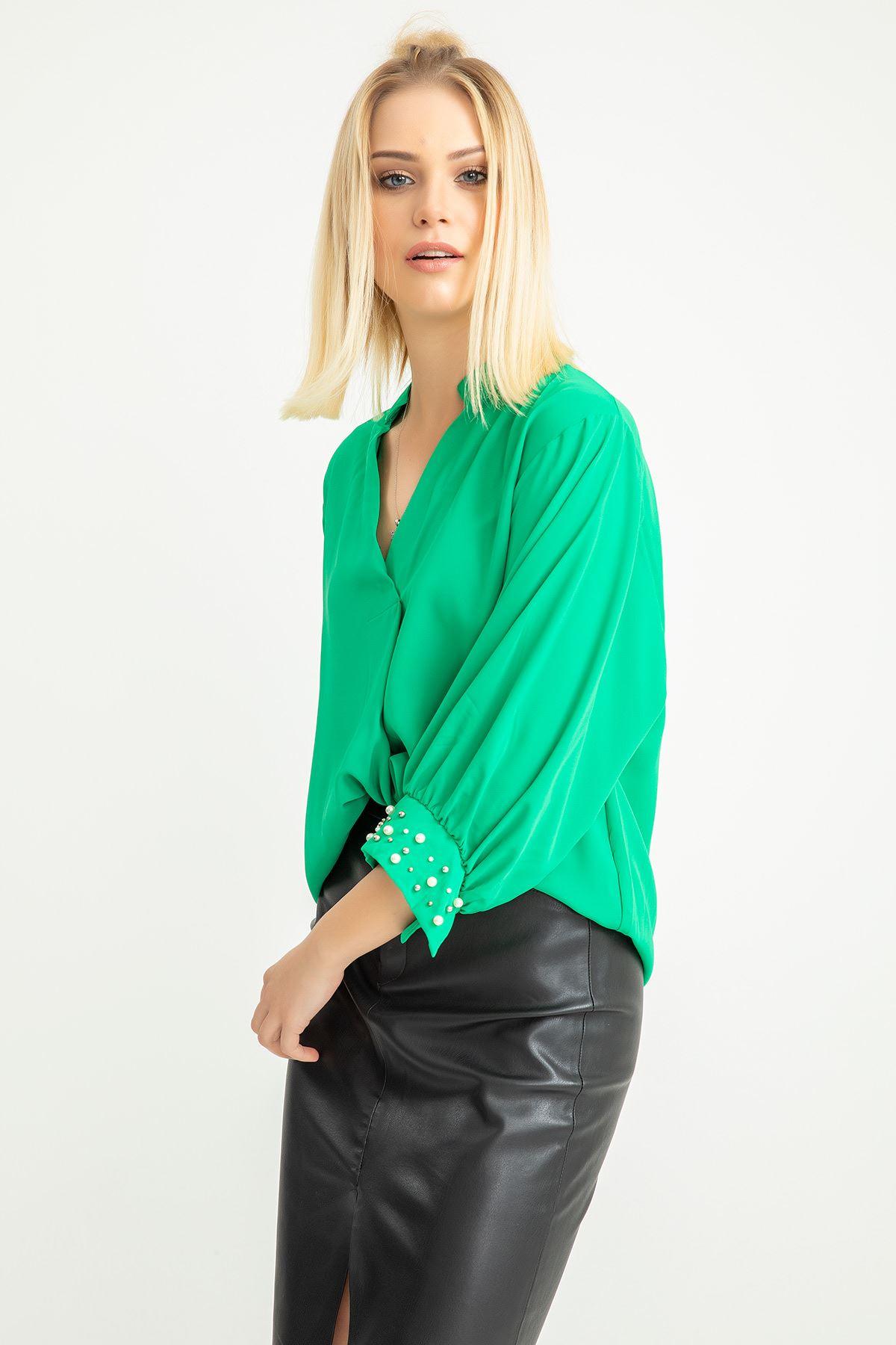 Kolları İnci Detay Jessica Gömlek-Yeşil