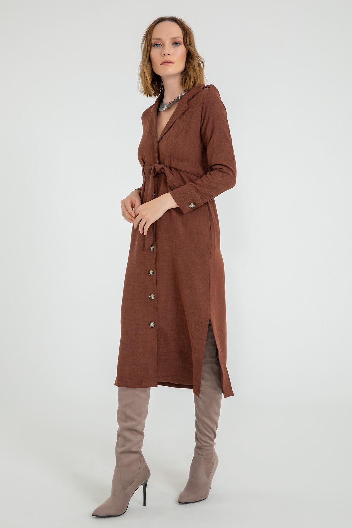 Yanı Yırtmaçlı Ceket Yaka Elbise-Kiremit
