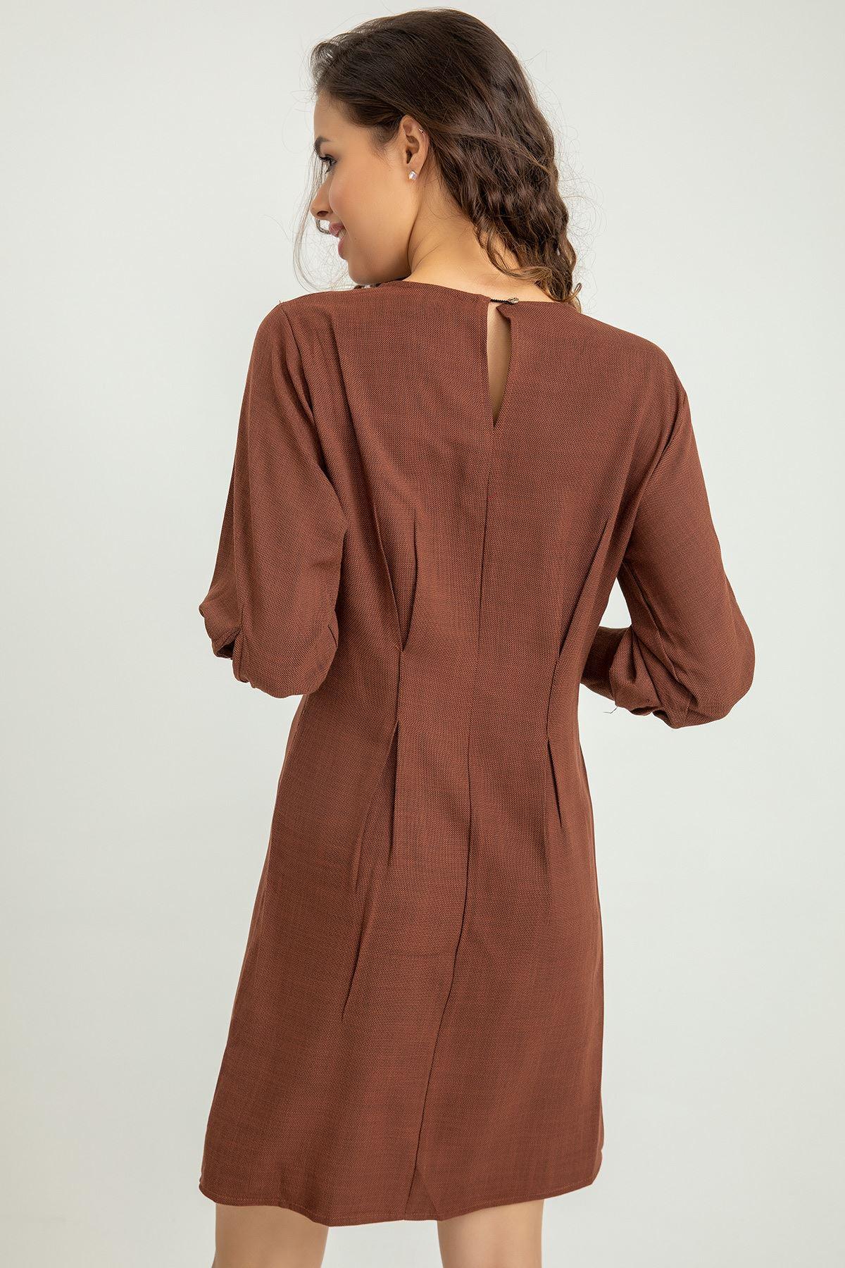Önü Düğme Detay Tunik Elbise-Kiremit
