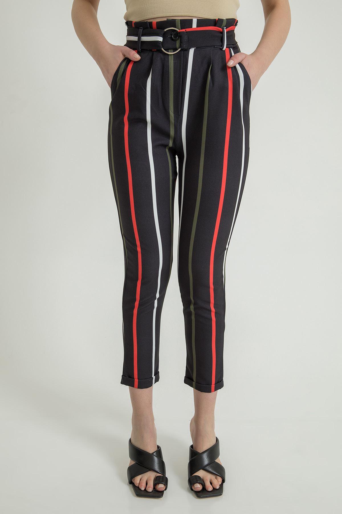 Çizgili Atlas Kumaş Pantolon-Haki
