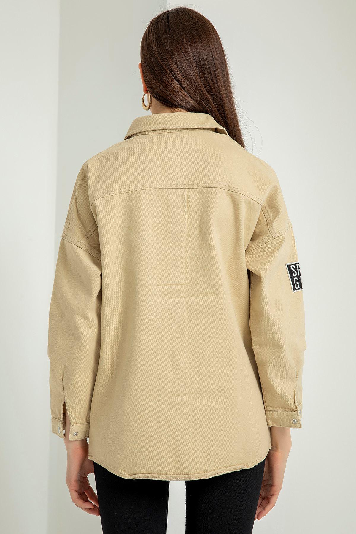 Cepli Yırtık Detay Kot Ceket-Bej