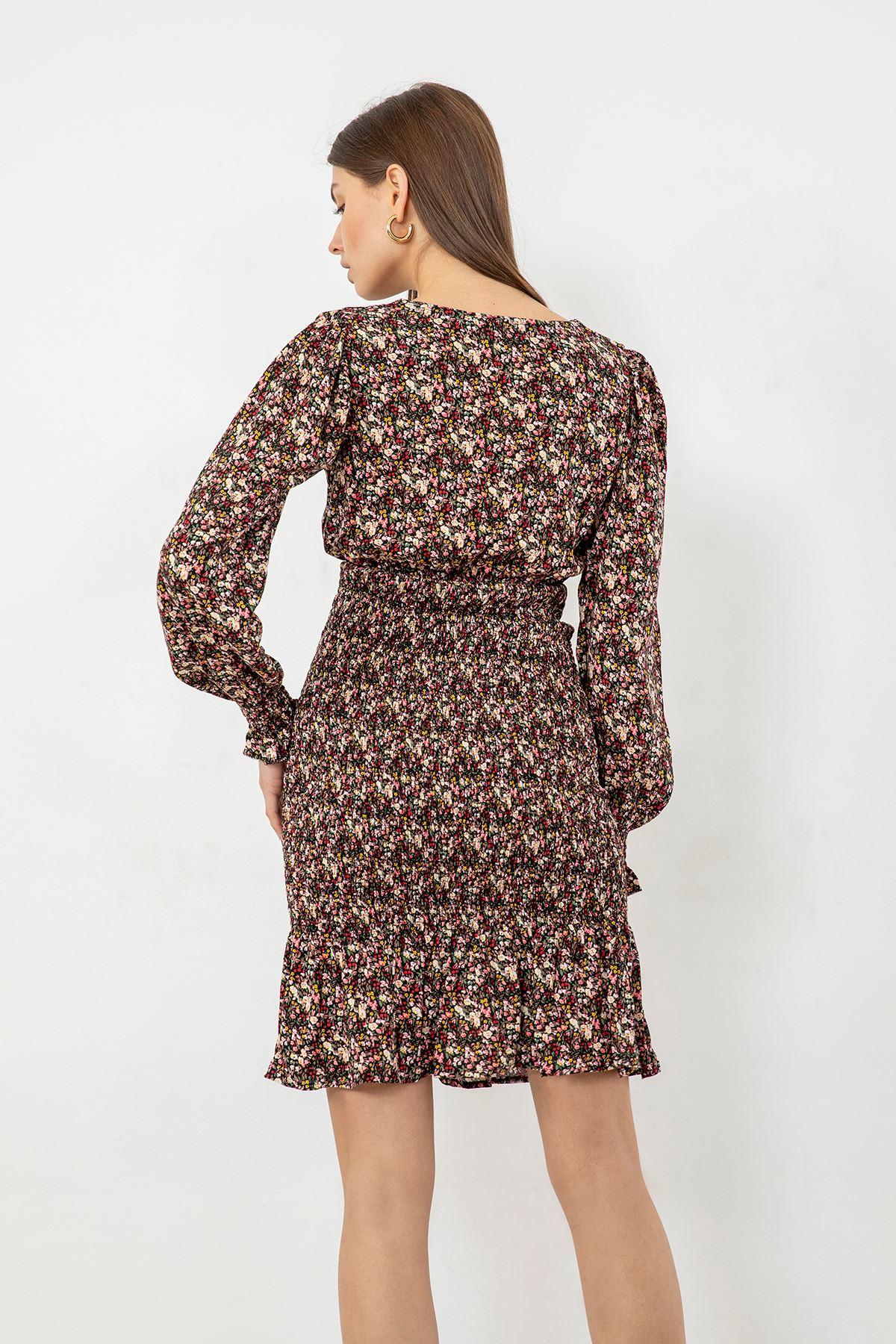 Çiçek Desen Gipeli Elbise-Siyah